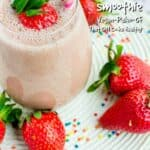 Strawberry and banana smoothie is a delicious plant based pick me up