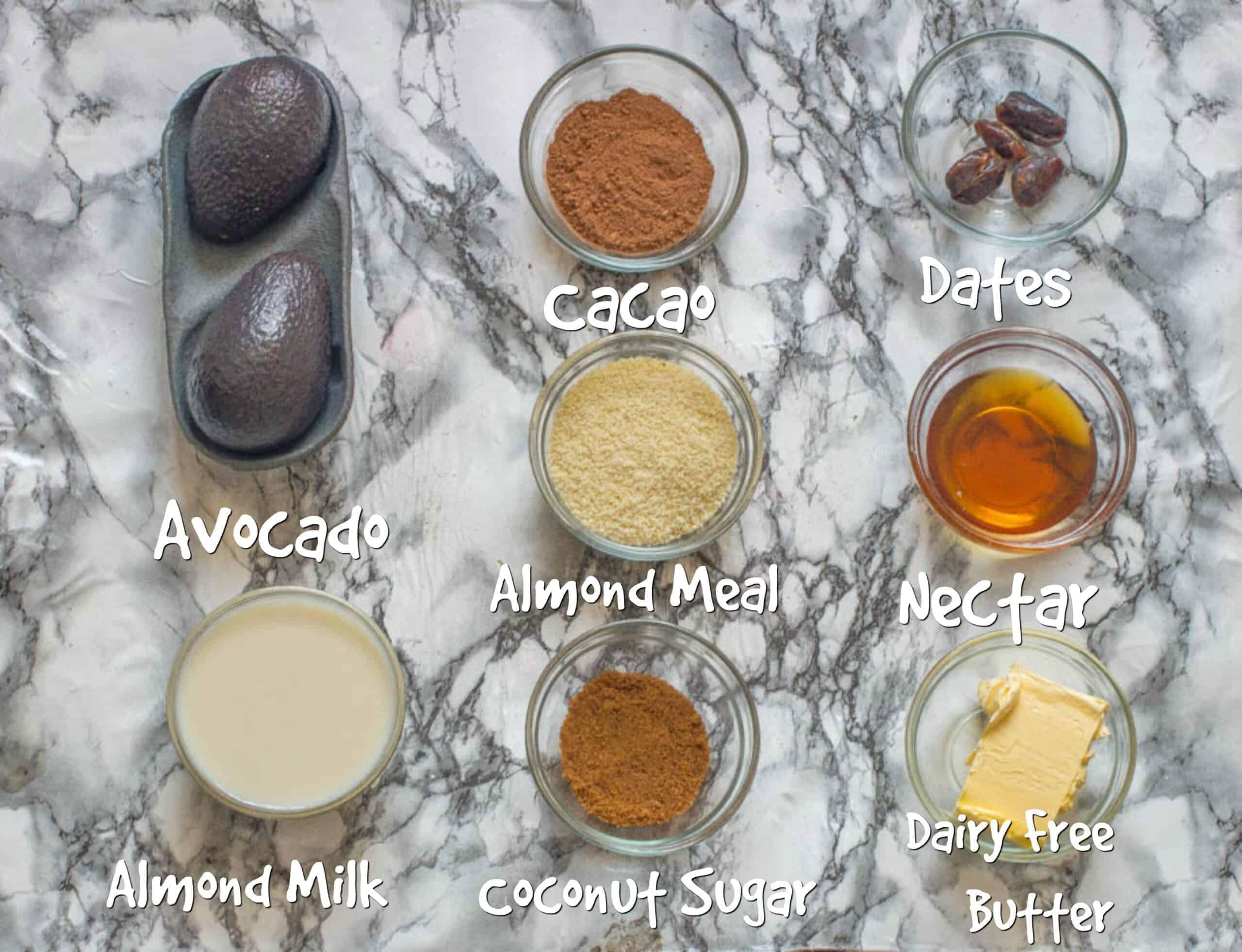 avocado chocolate crumble ingredients