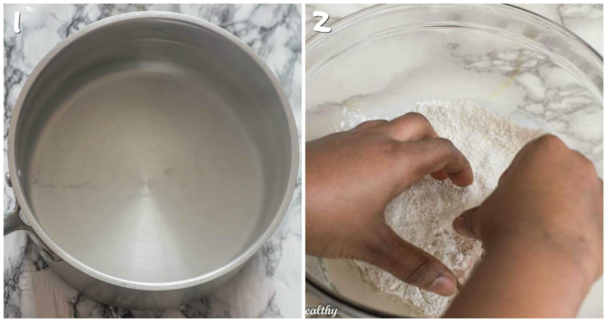 steps 1-2 boiling water and kneading the dough