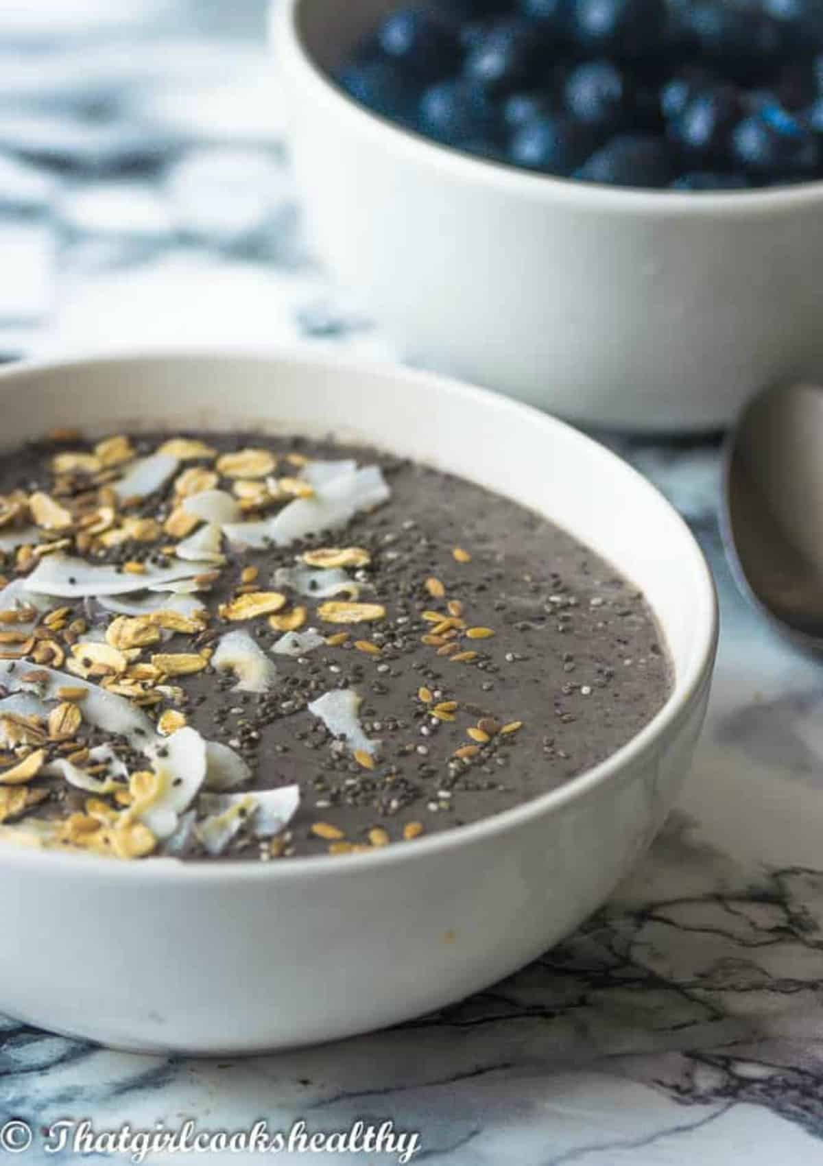 smoothie bowl with the topping