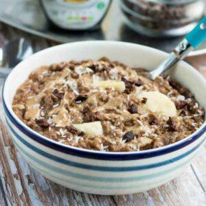 A bowl of porridge with garnish