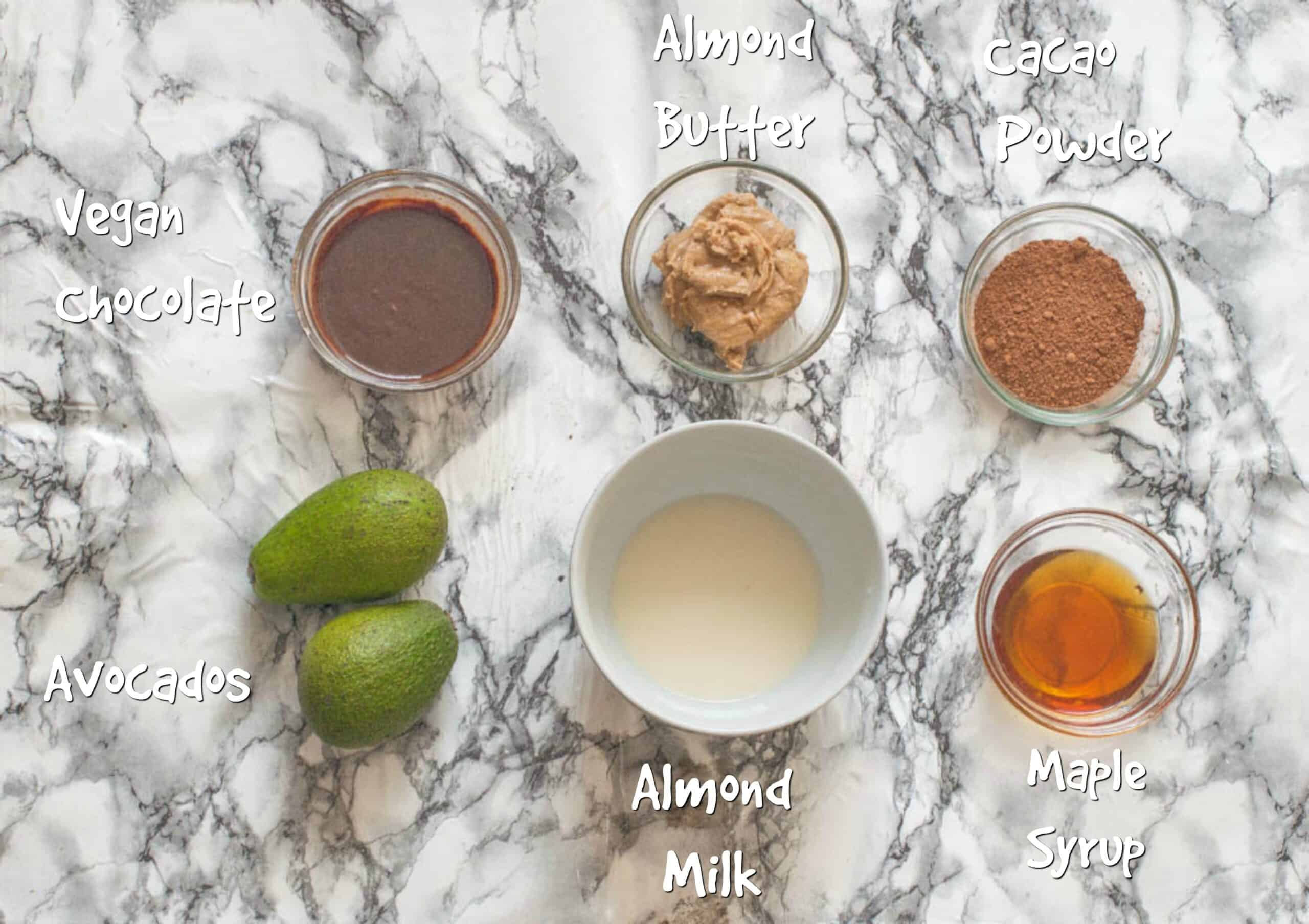 ingredient for avocado chocolate mousse