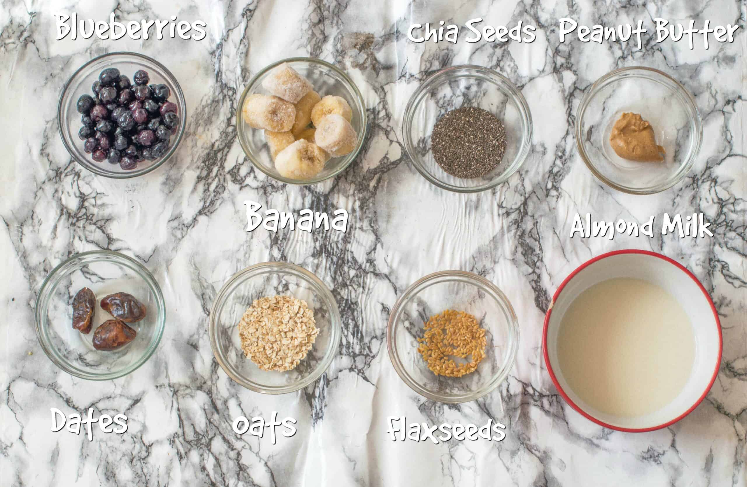 ingredients for blueberry banana smoothie bowl