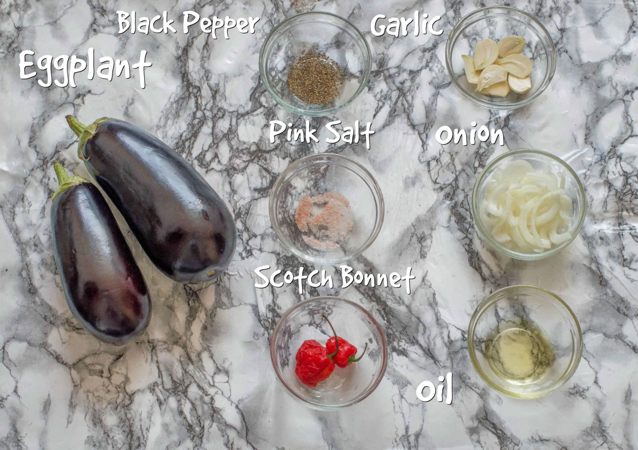 ingredients for the baigan choka