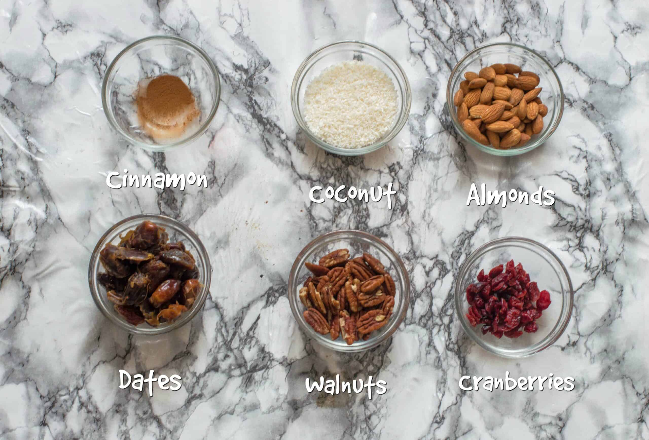 ingredients for the energy balls