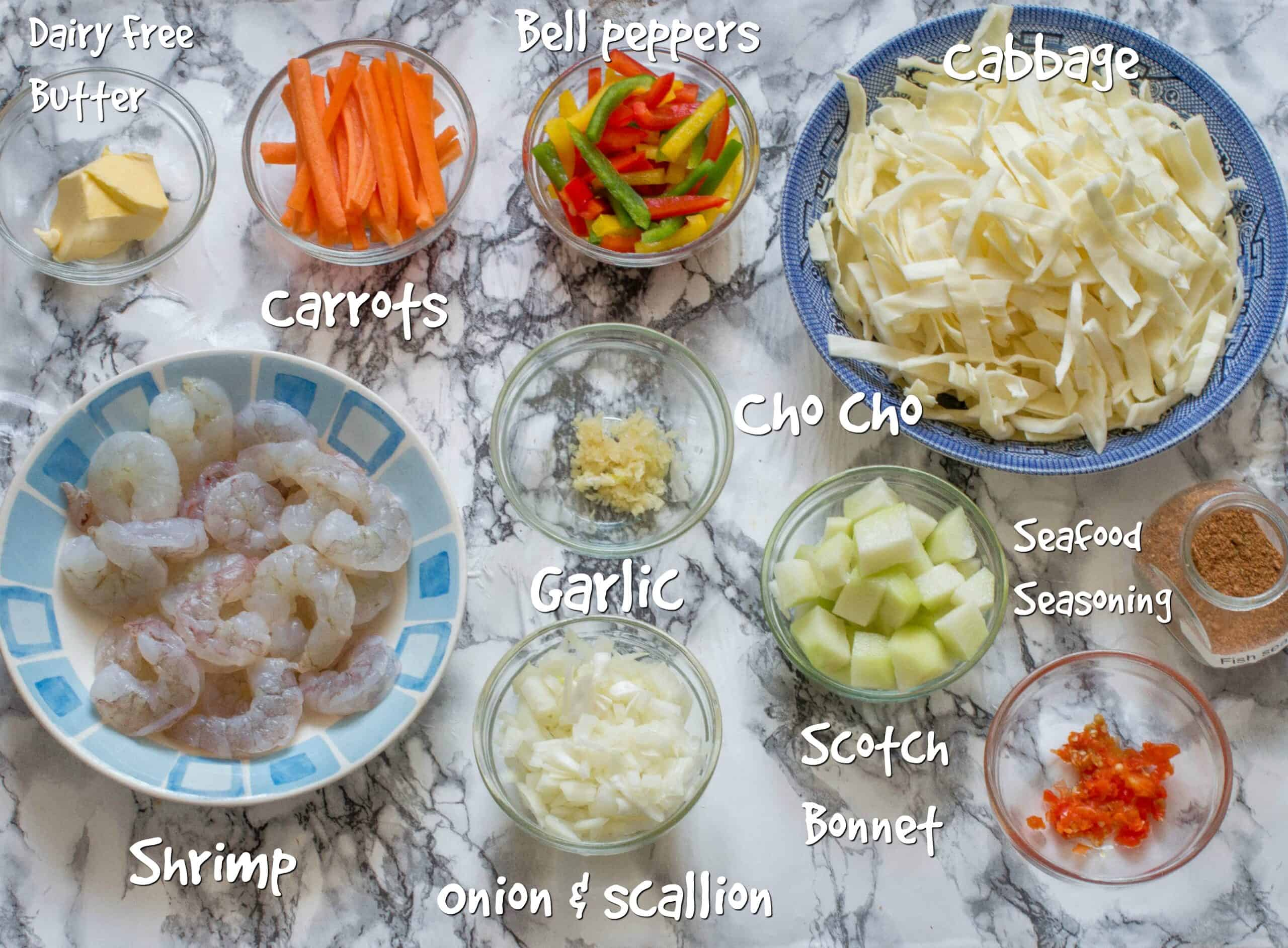 ingredients for the shrimp and cabbage