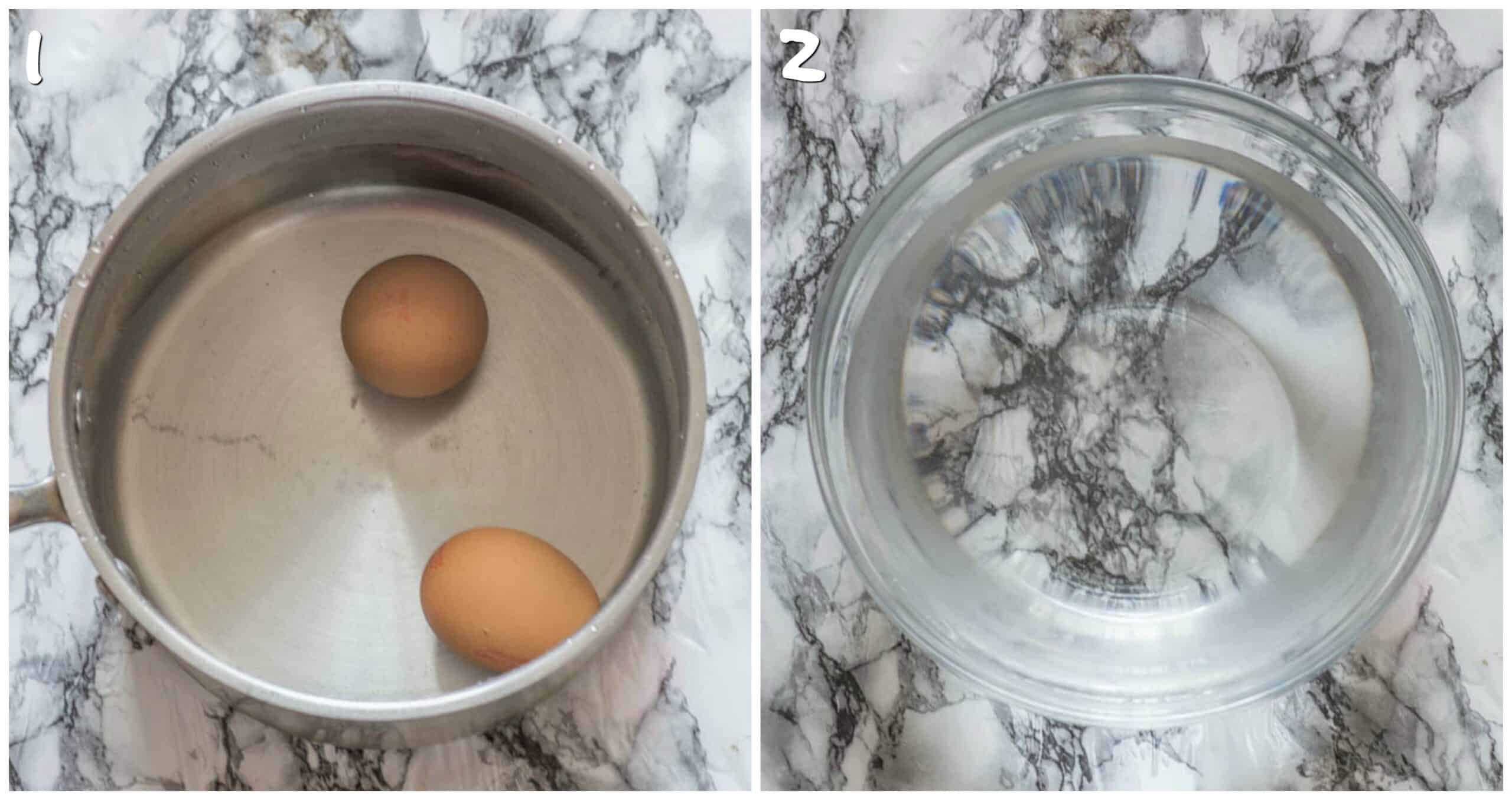steps 1-2 boied eggs and cold water