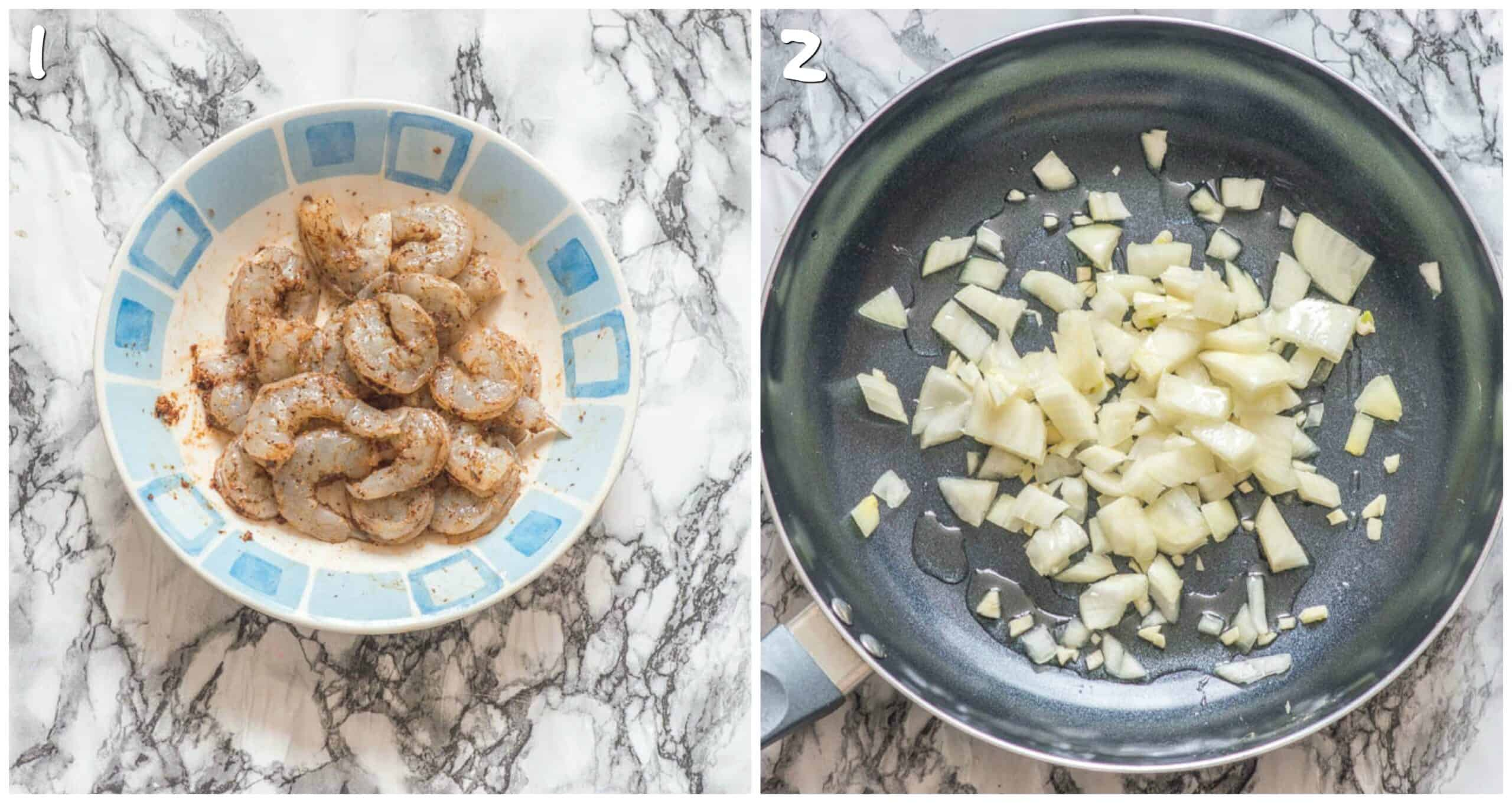 steps 1-2 marinating shrimp and sauteing onions and garlic