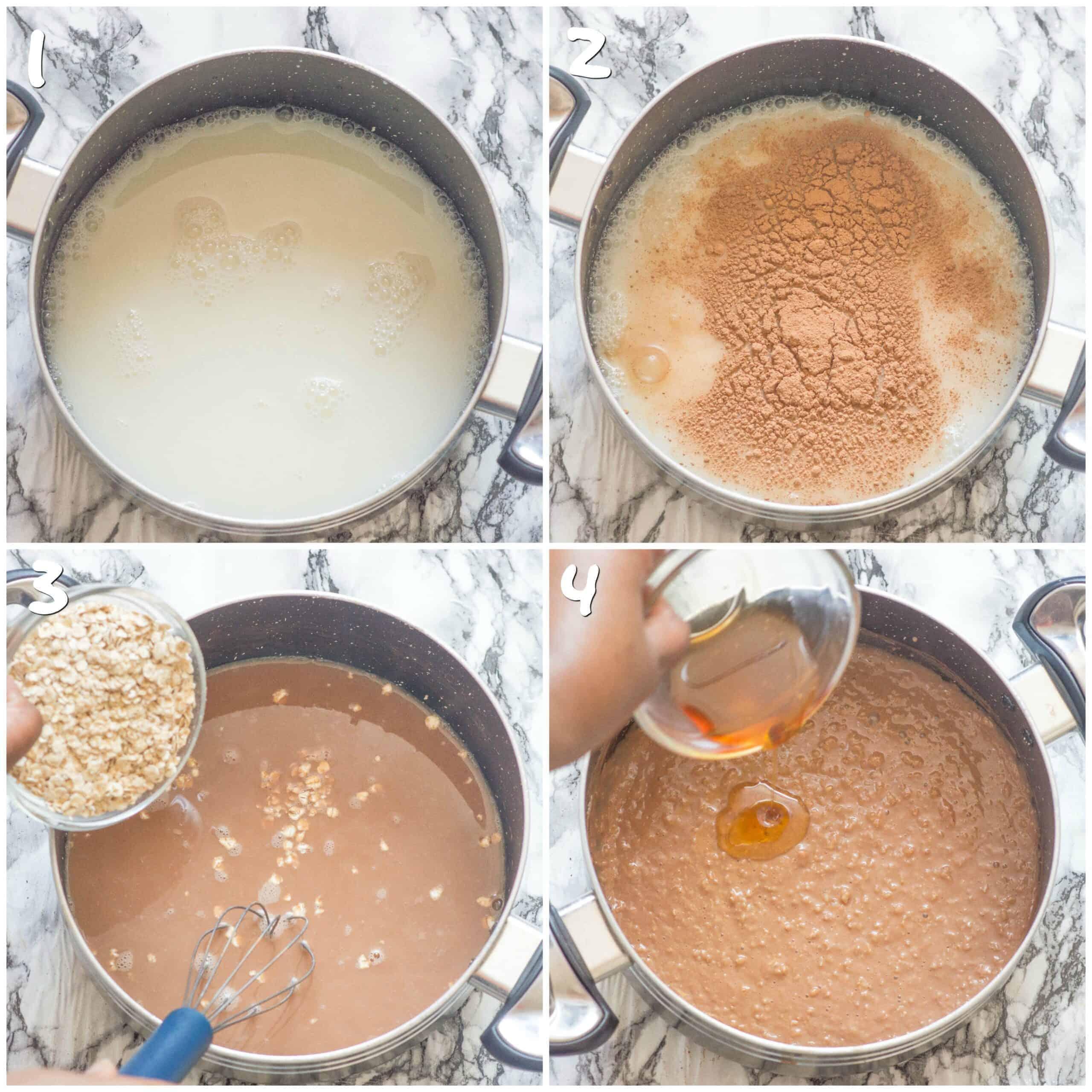steps 1-4 making the porridge
