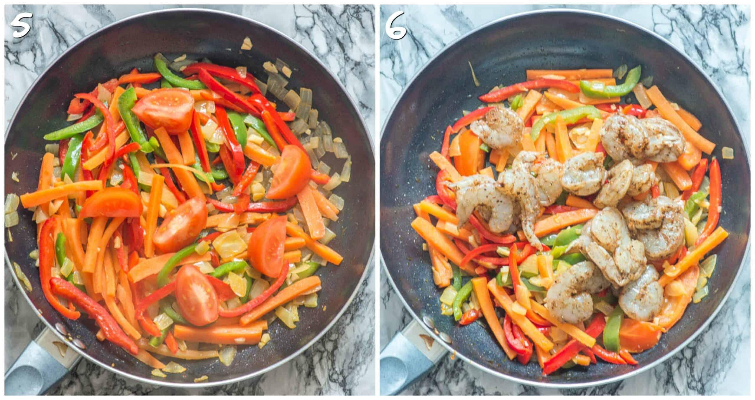 steps 5-6 stirring vegetables