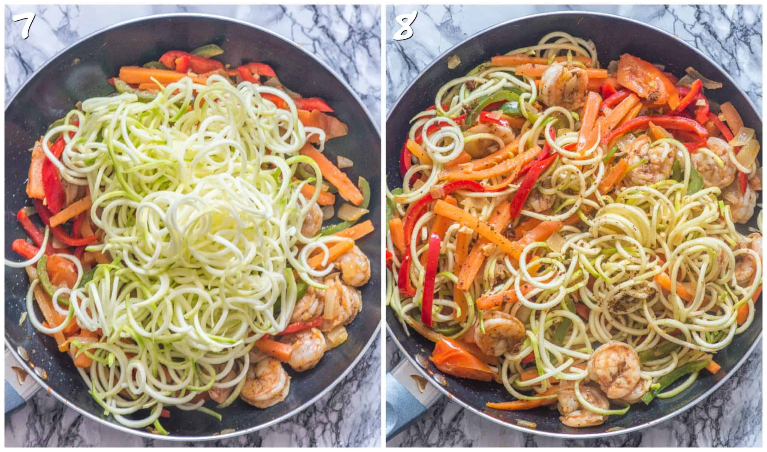 steps 7-8 adding the zoodles