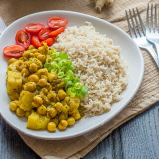 chana, rice and vegetables