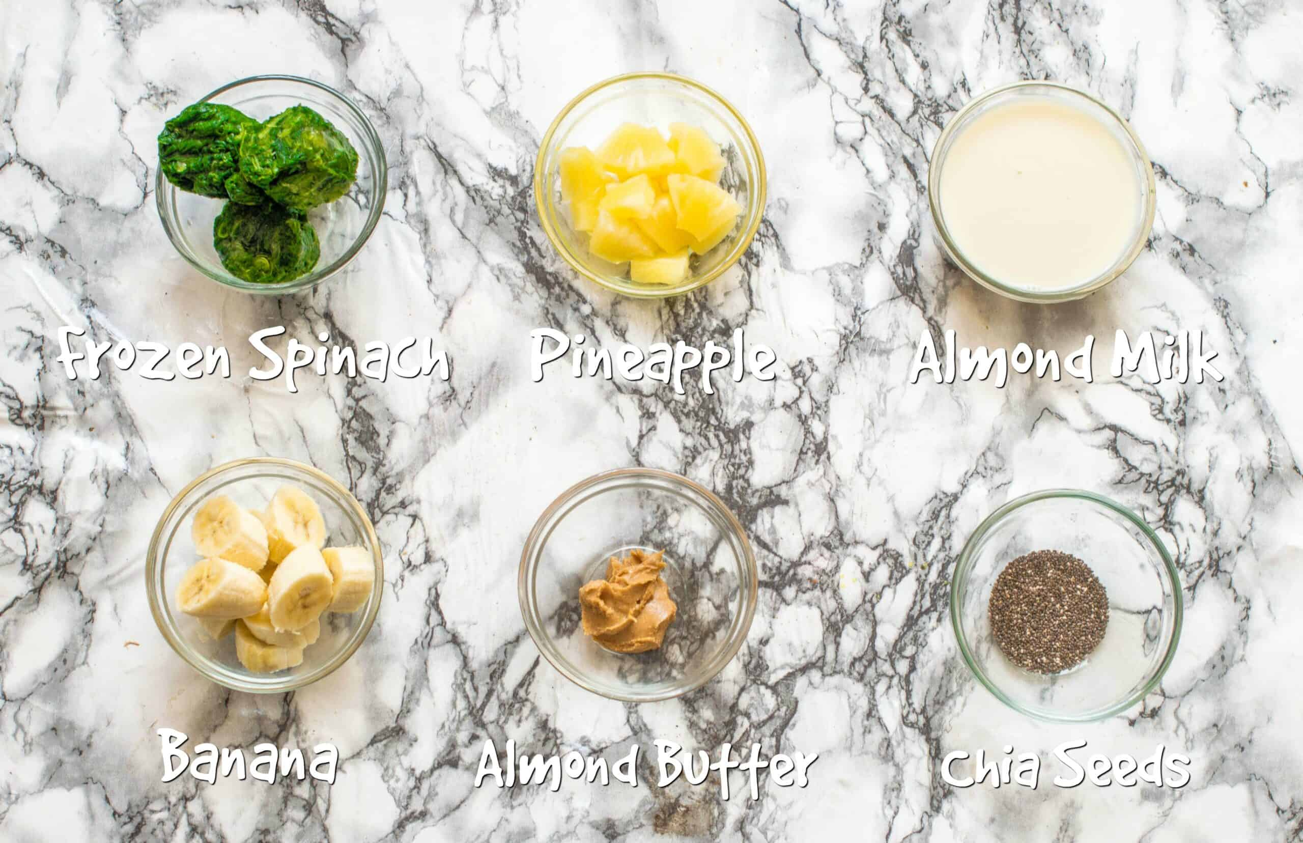 ingredients for pineapple spinach smoothie