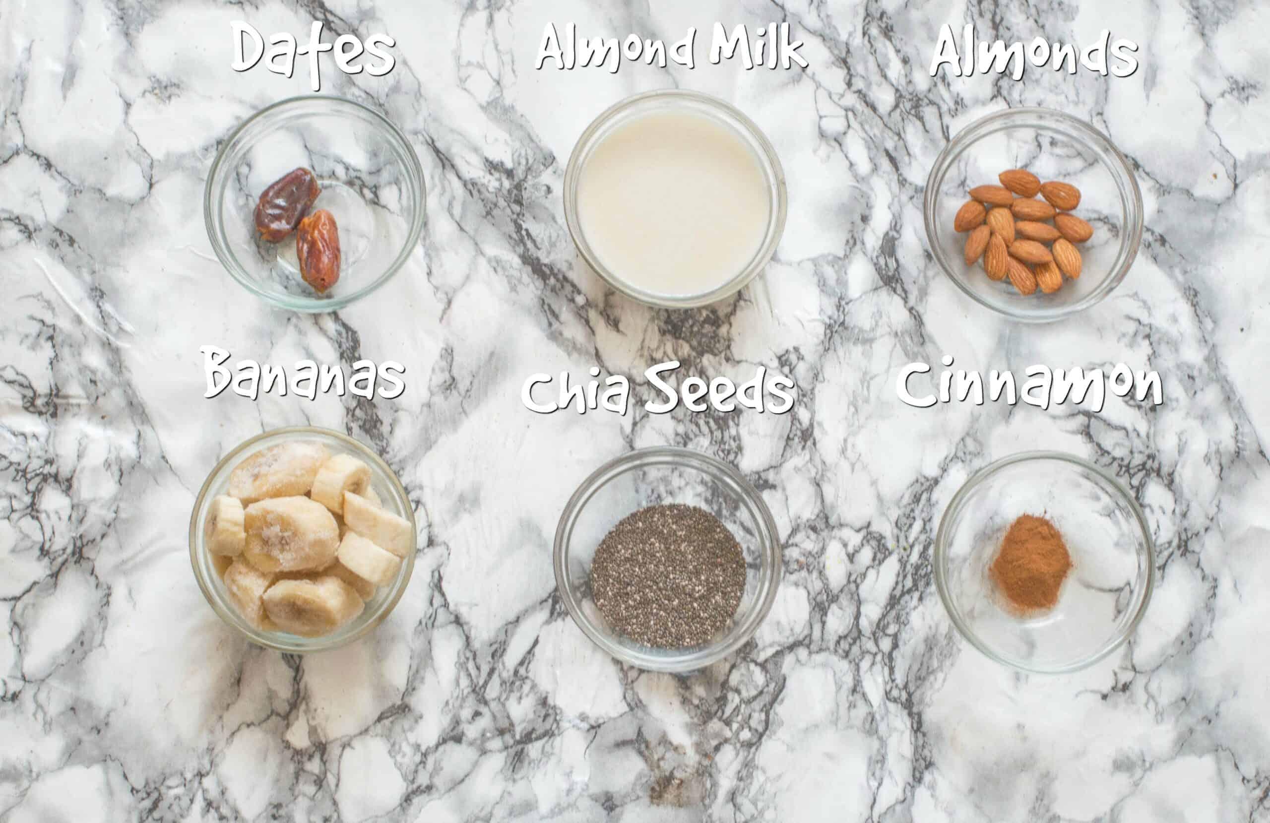 ingredients for vegan banana smoothie
