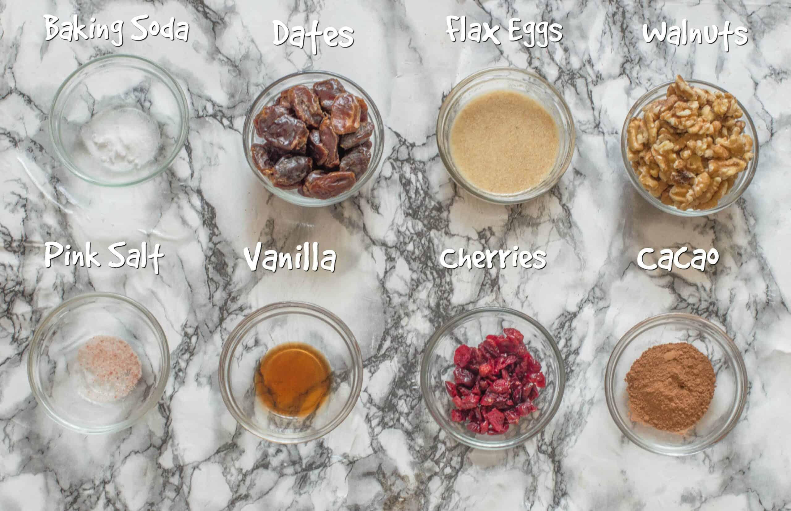ingredients for vegan chocolate cherry cookies