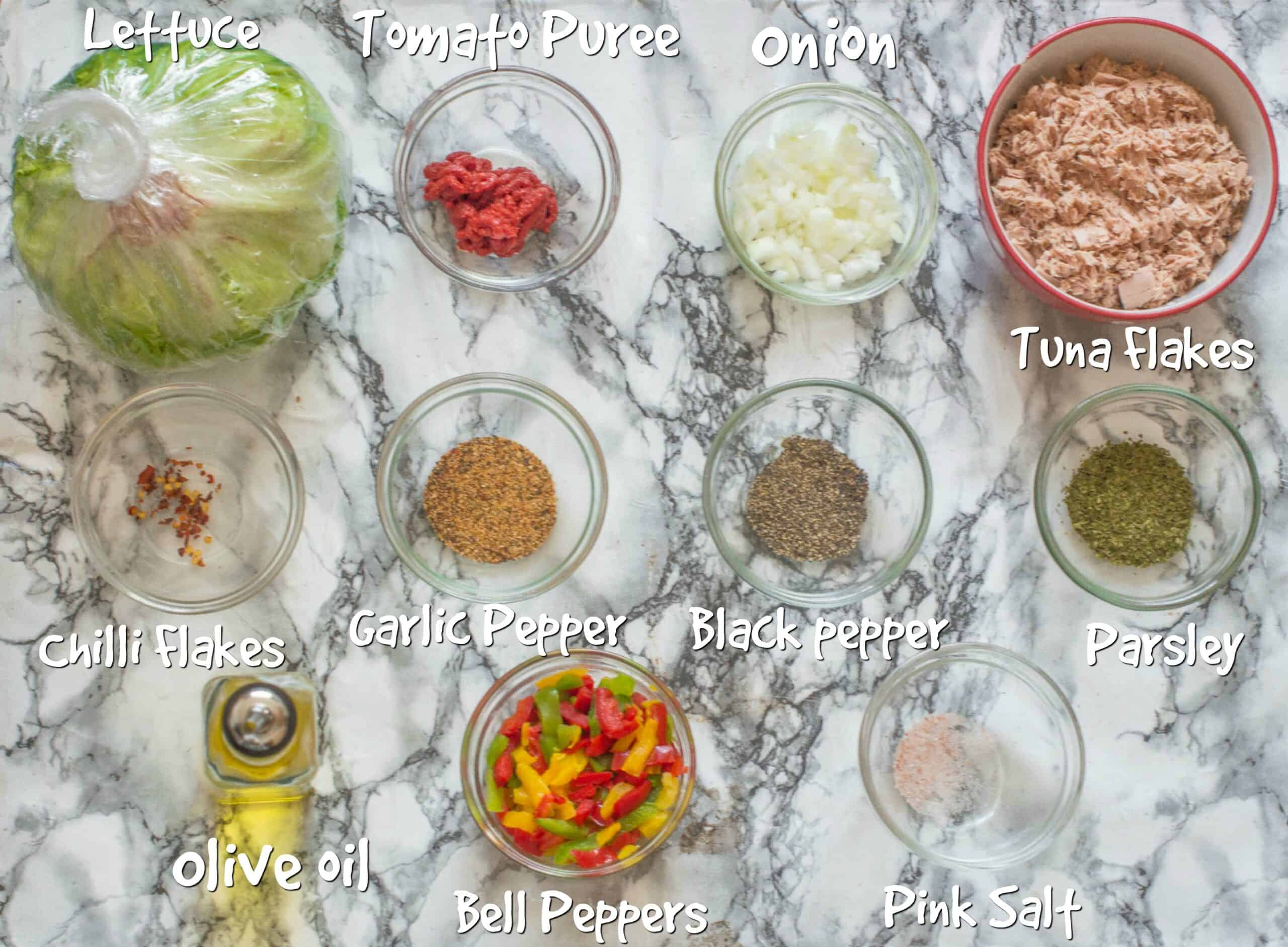 ingredients to make seared tuna salad