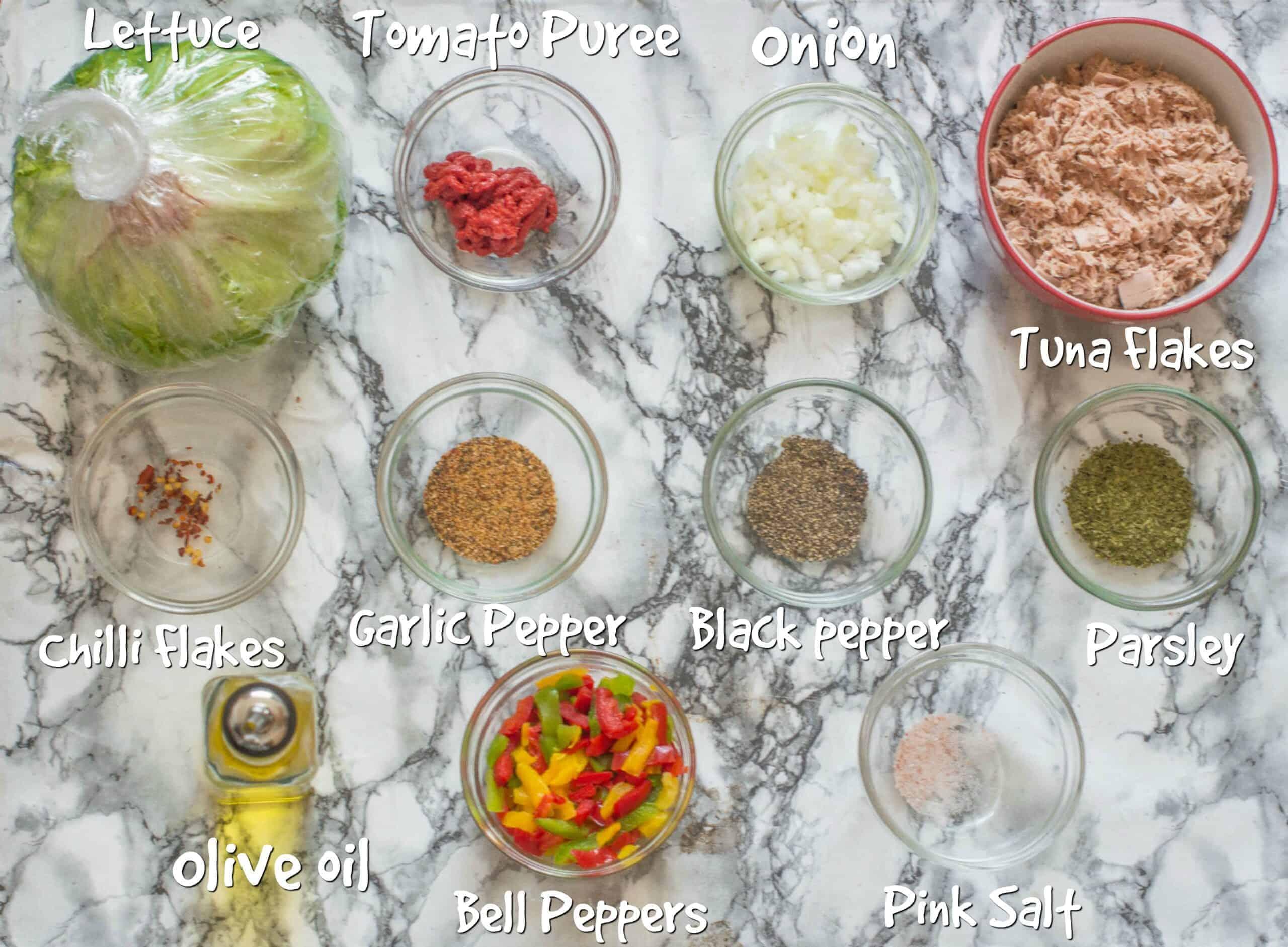 ingredients to make seared tuna salad