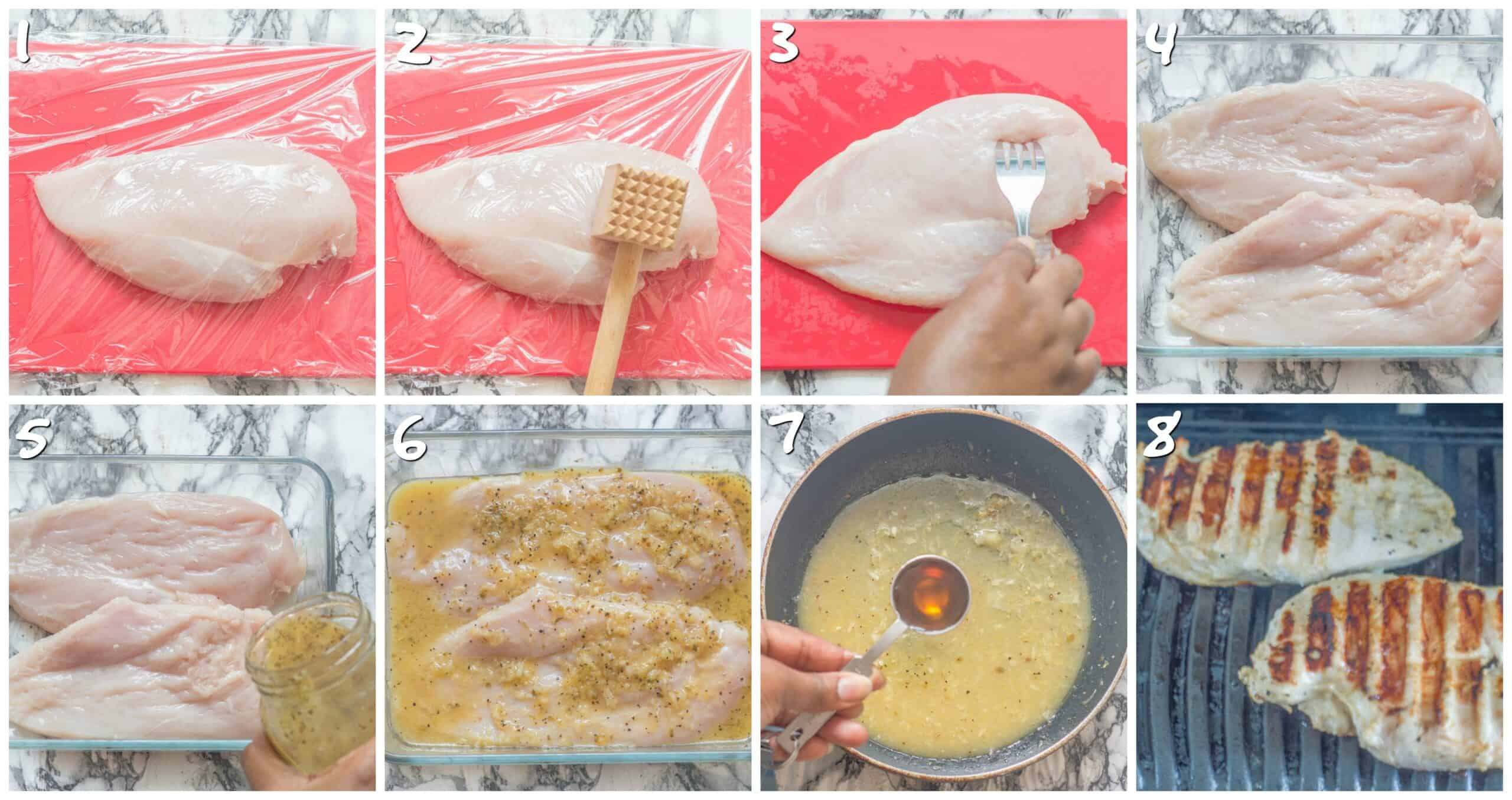 steps 1-8 marinating the chicken and preparing the sauce