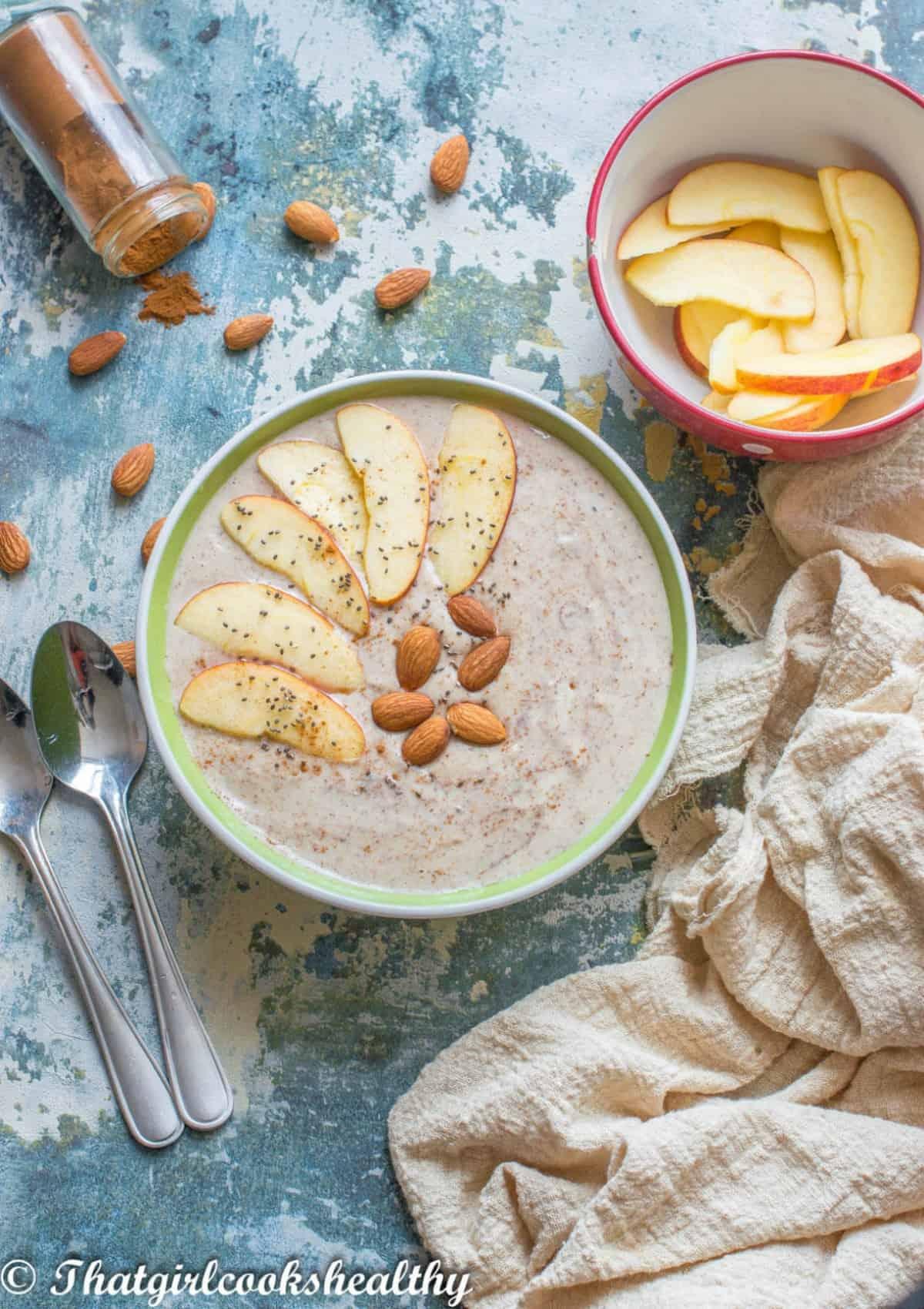 porridge in a green bowl