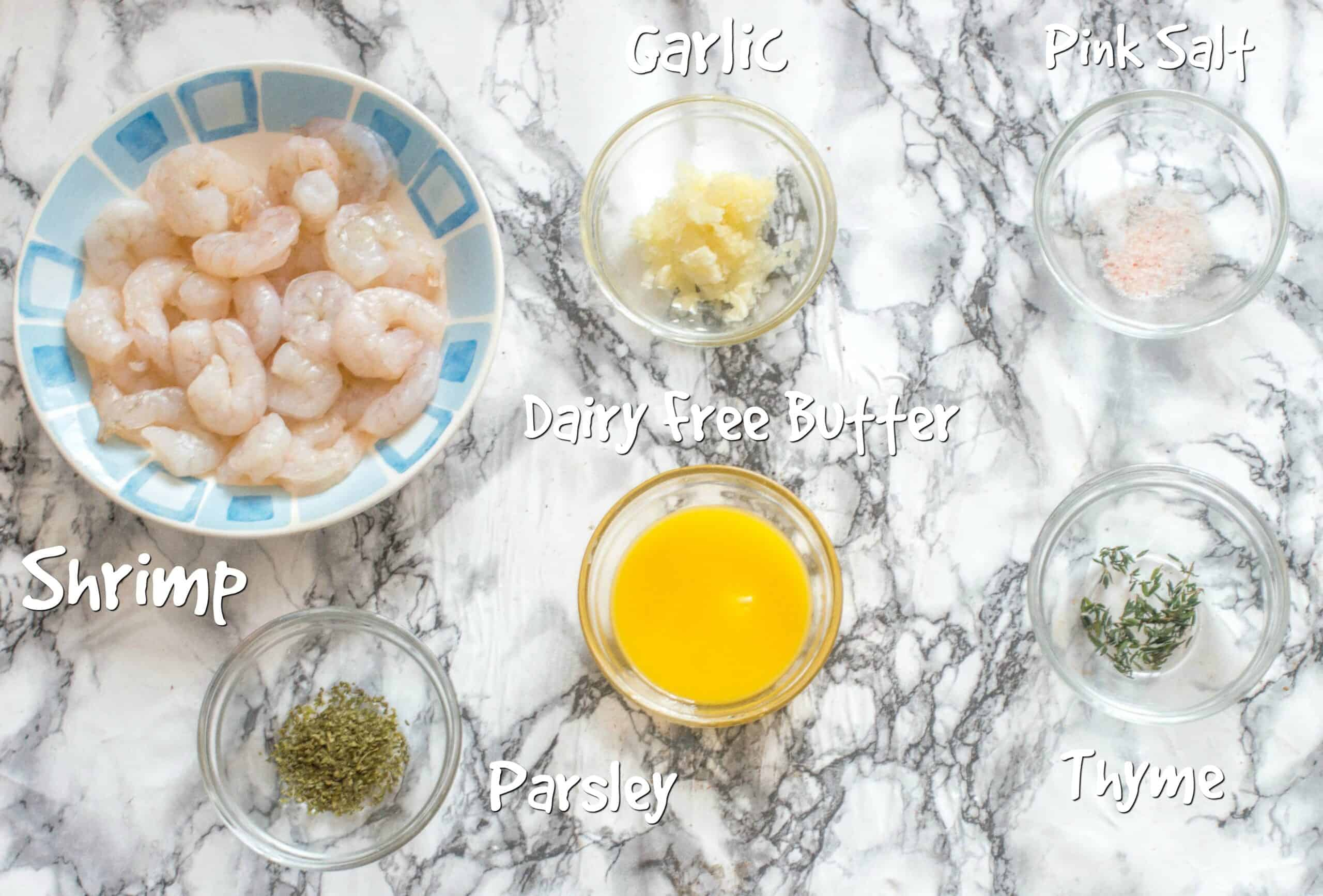 Ingredients for the pan fried garlic butter shrimp