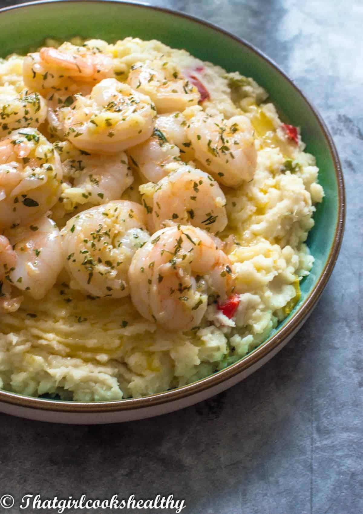 yam mash with shrimp on top