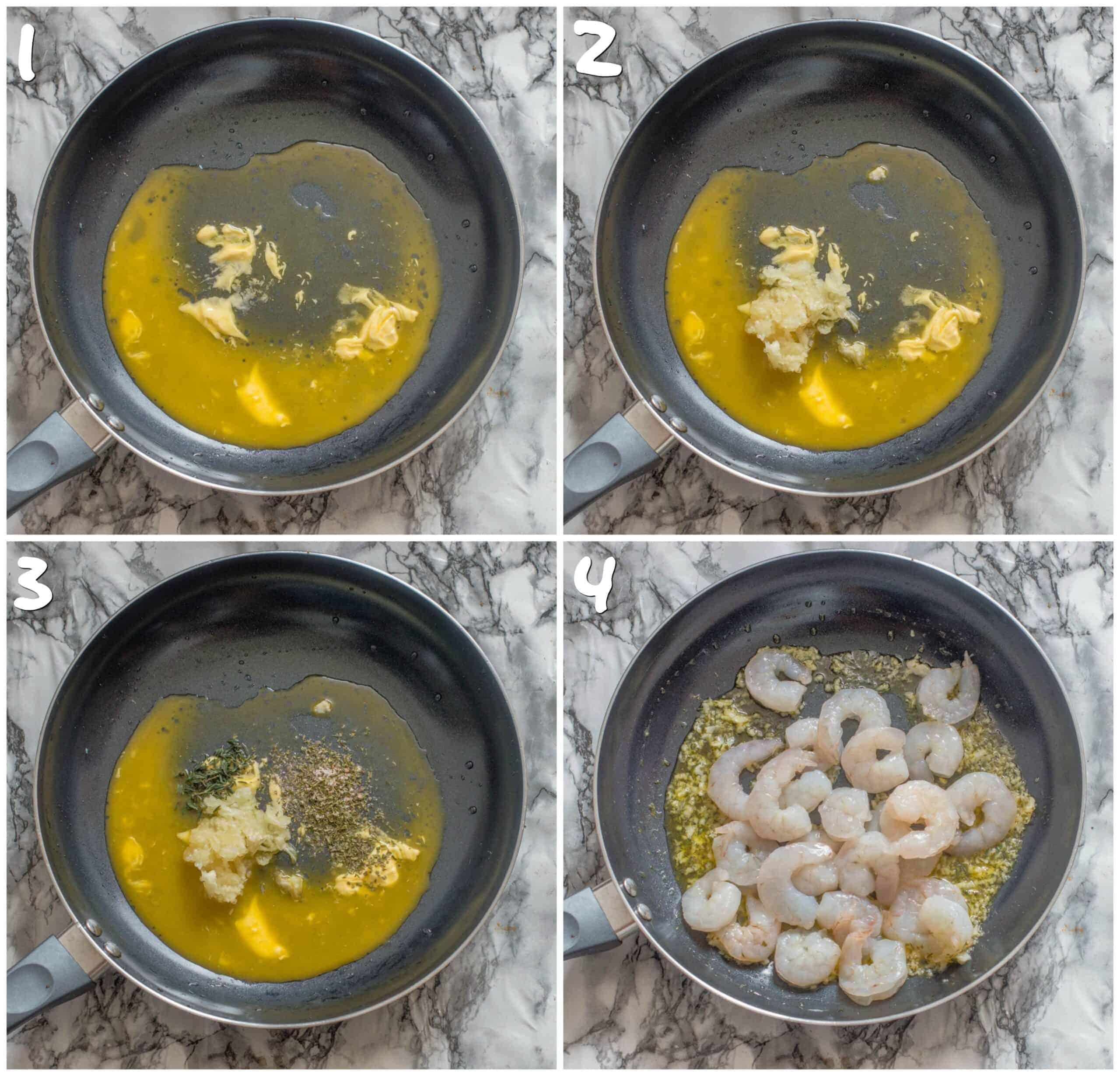 steps 1-4 pan frying the shrimp in butter