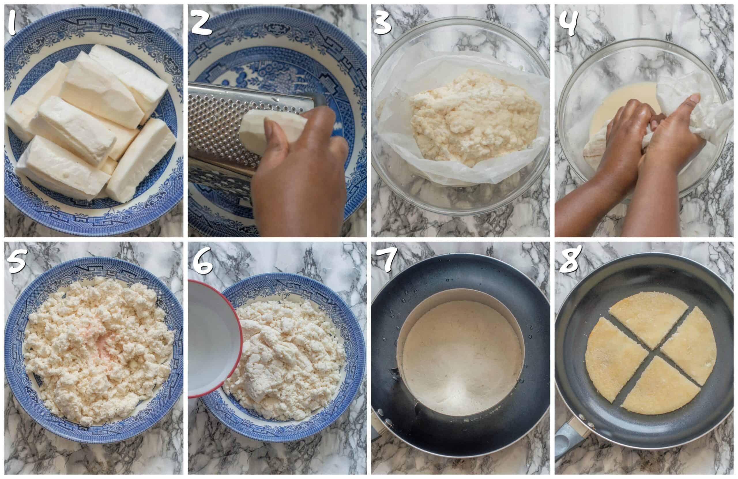steps 1-8 making the bammy