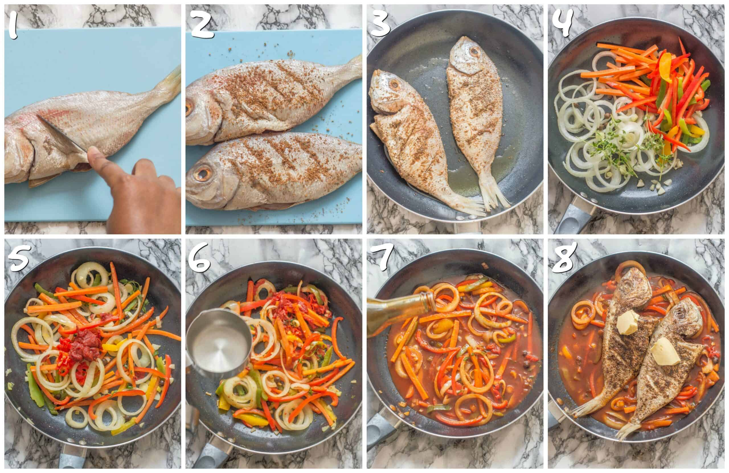 steps 1-8 seasoning and making the stew fish