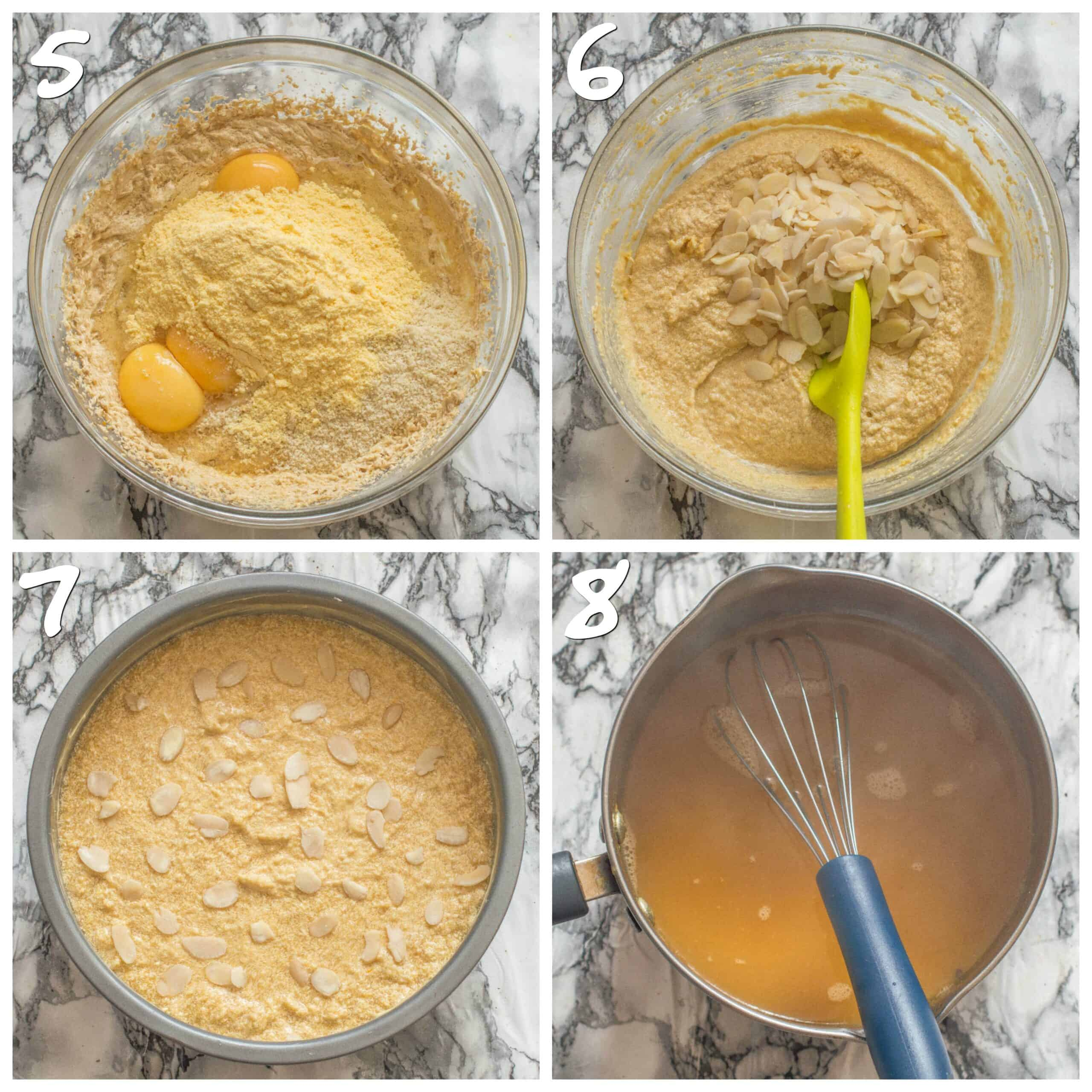 steps 5-8 mixing the cake batter