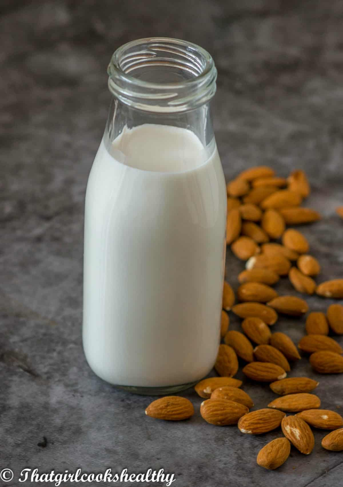 almond milk in a bottle