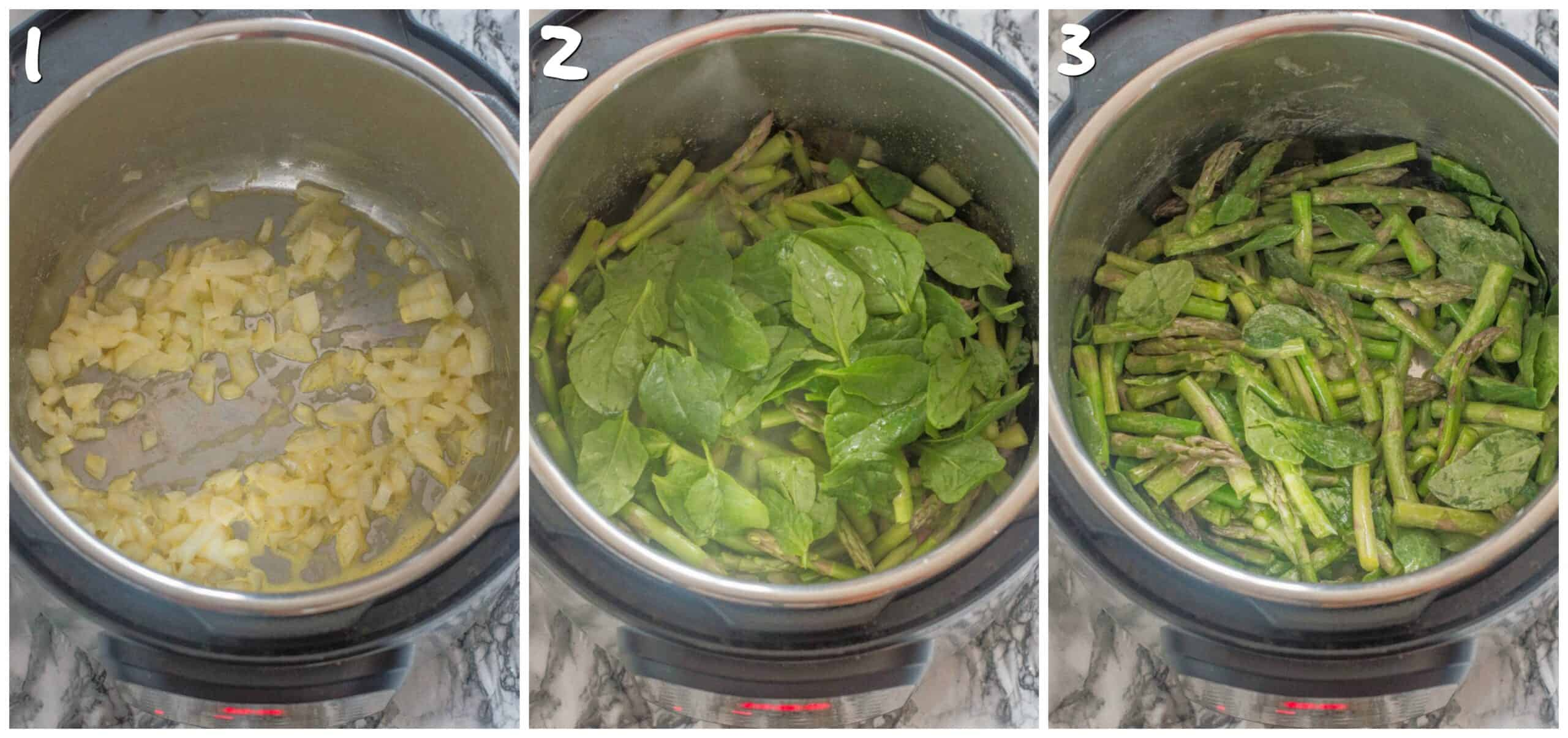 steps 1-3 sauteing and adding the vegetables