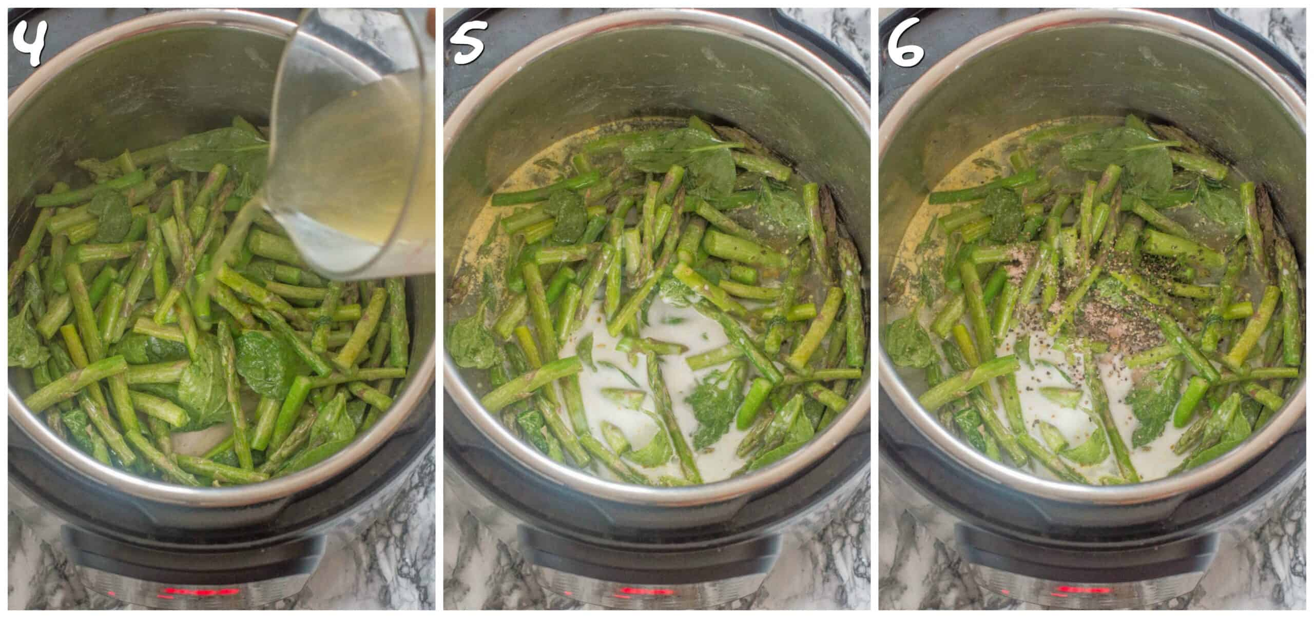 steps 4-6 adding stock, milk and seasoning