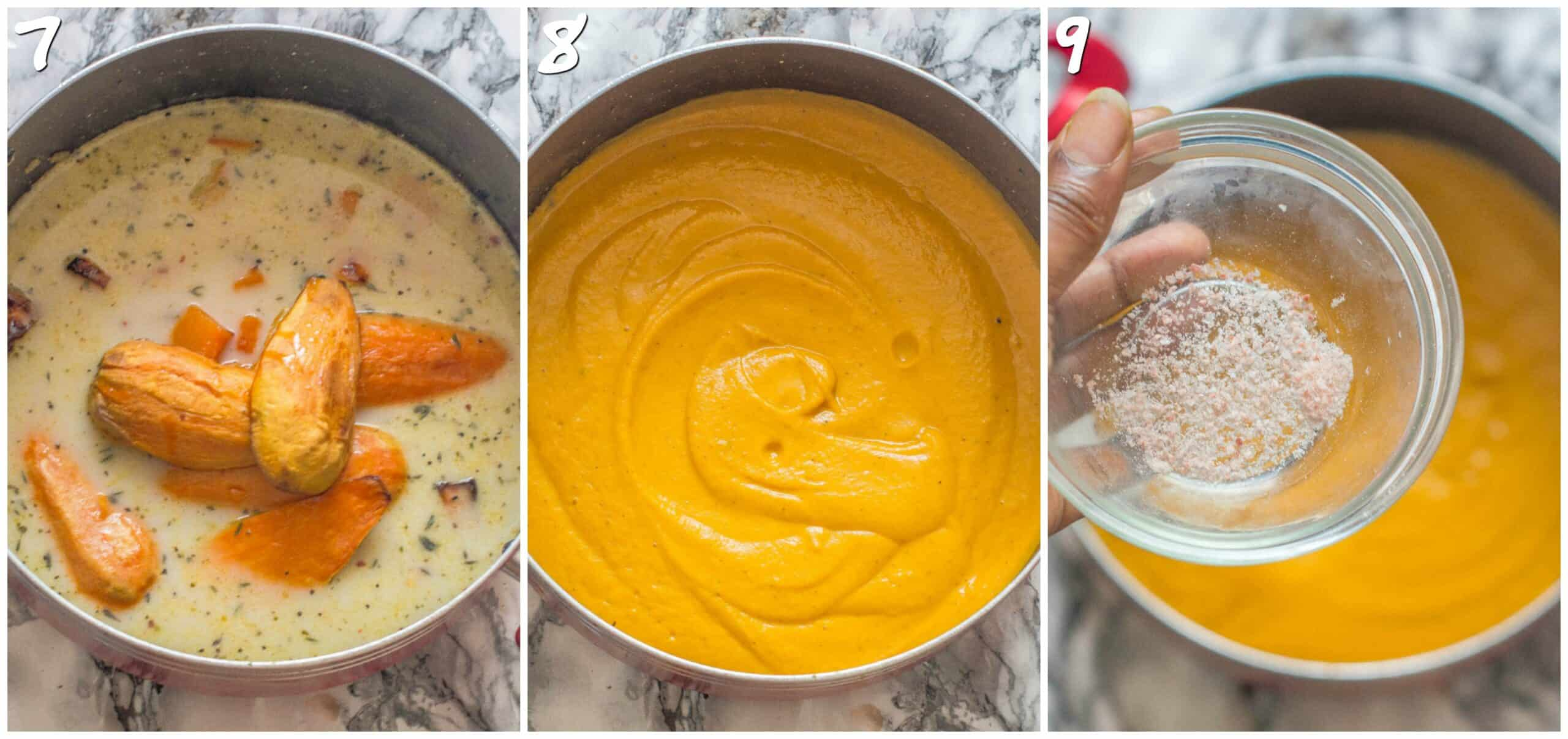 steps 7-9 pureeing the vegetables into soup