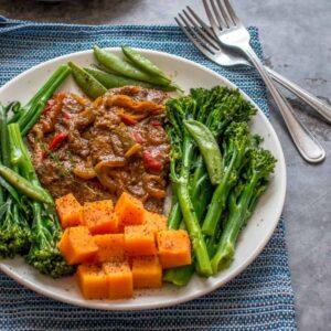 turkey steaks, broccoli and sweet potatoes
