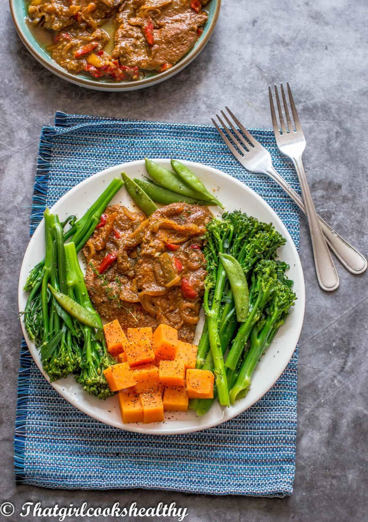 2 turkey steaks with vegetables