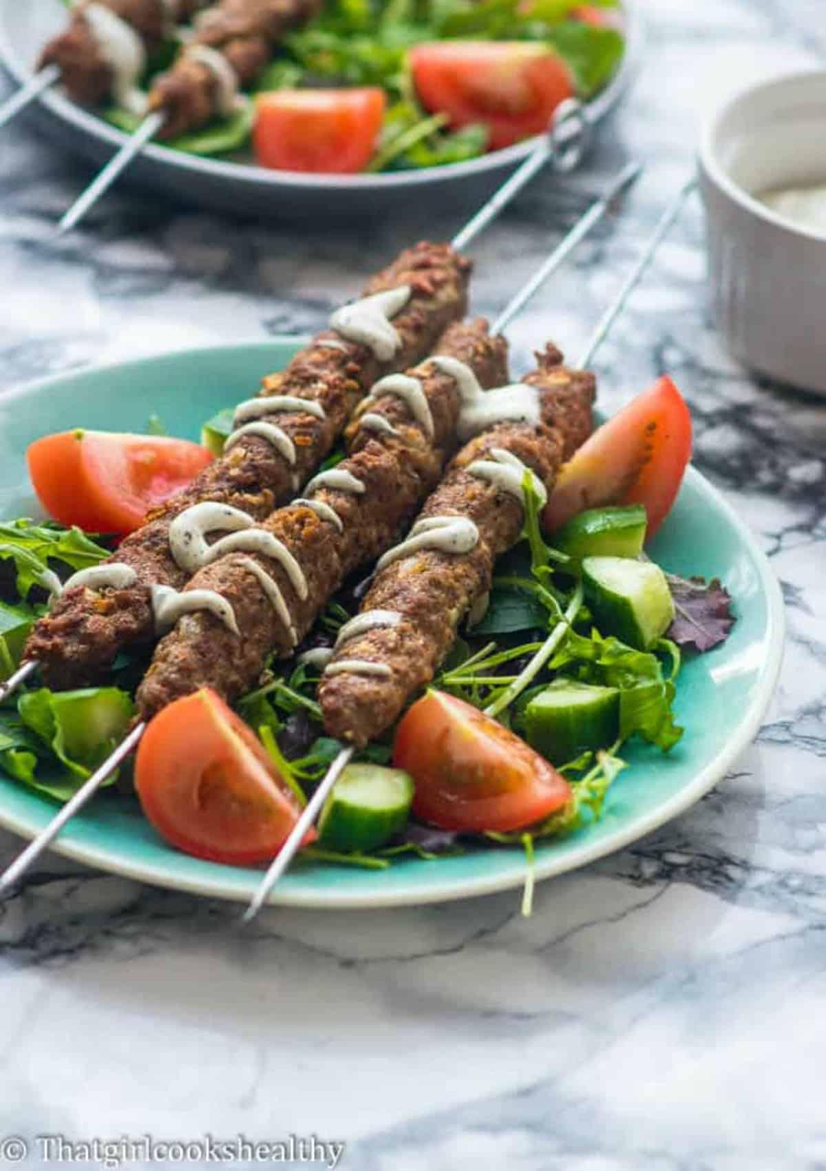 kofta skewers with vegetables