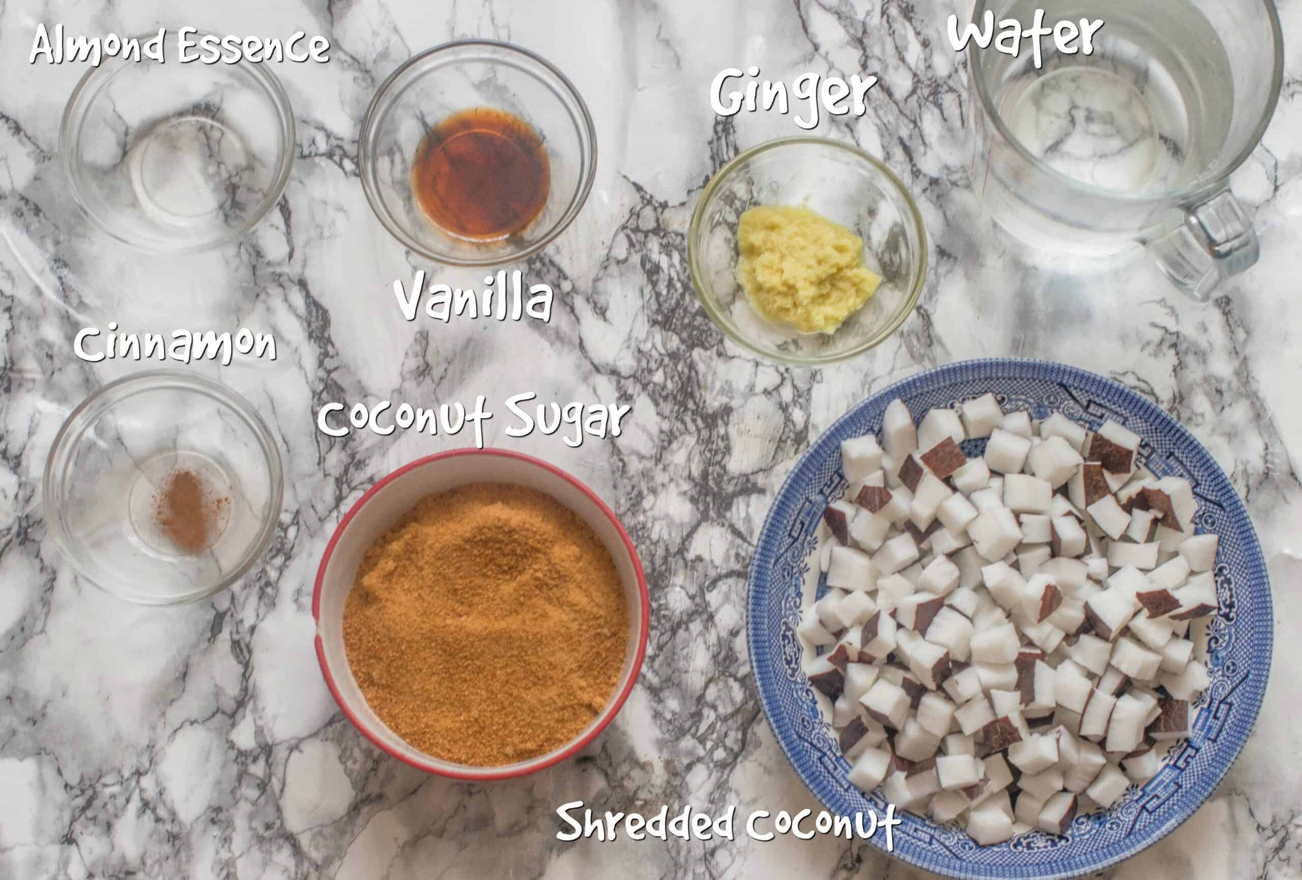 ingredients for coconut drops