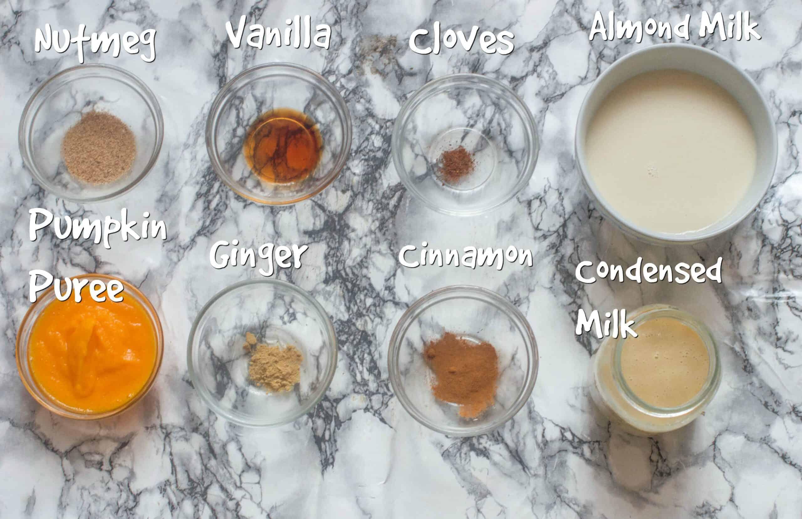 ingredients for pumpkin spice drink