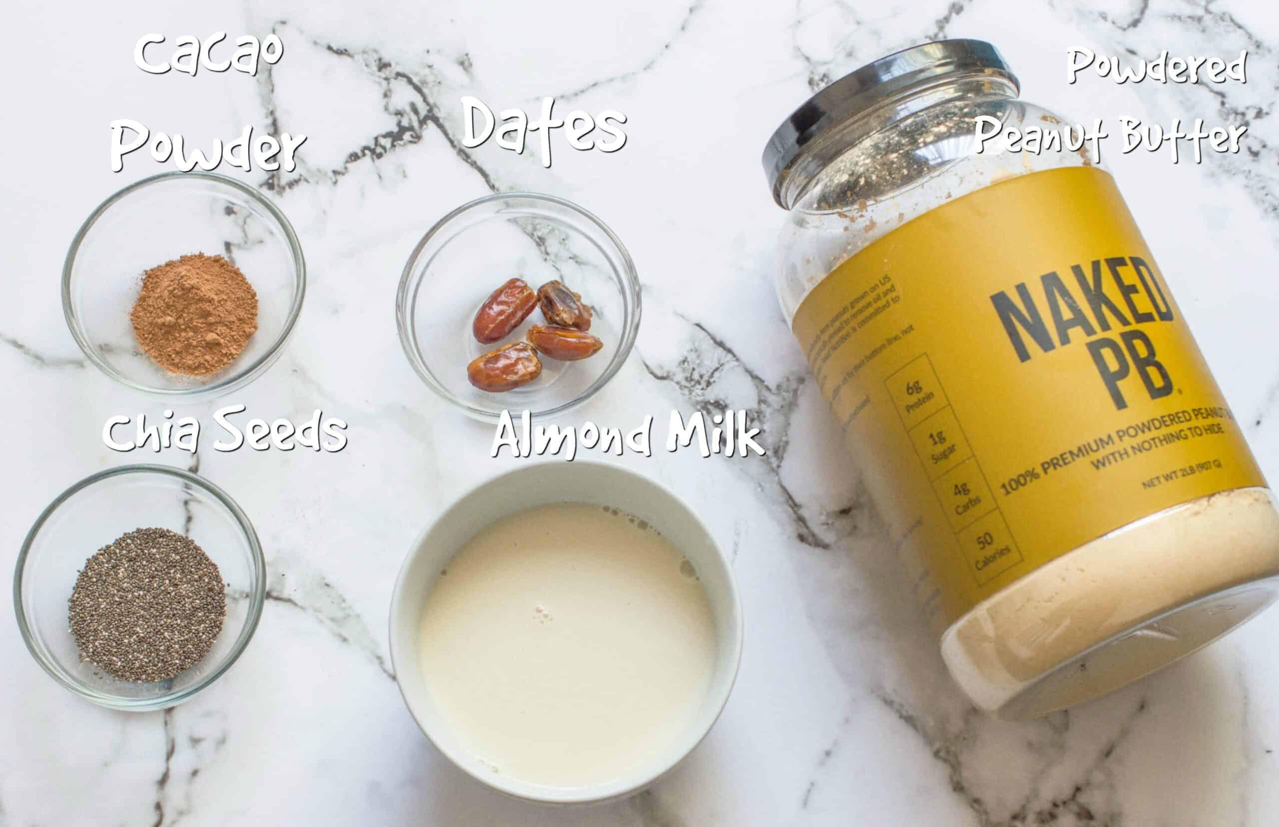ingredients for vegan chocolate peanut butter shake
