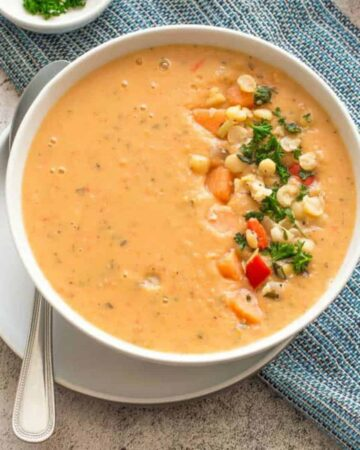 orange soup with garnish