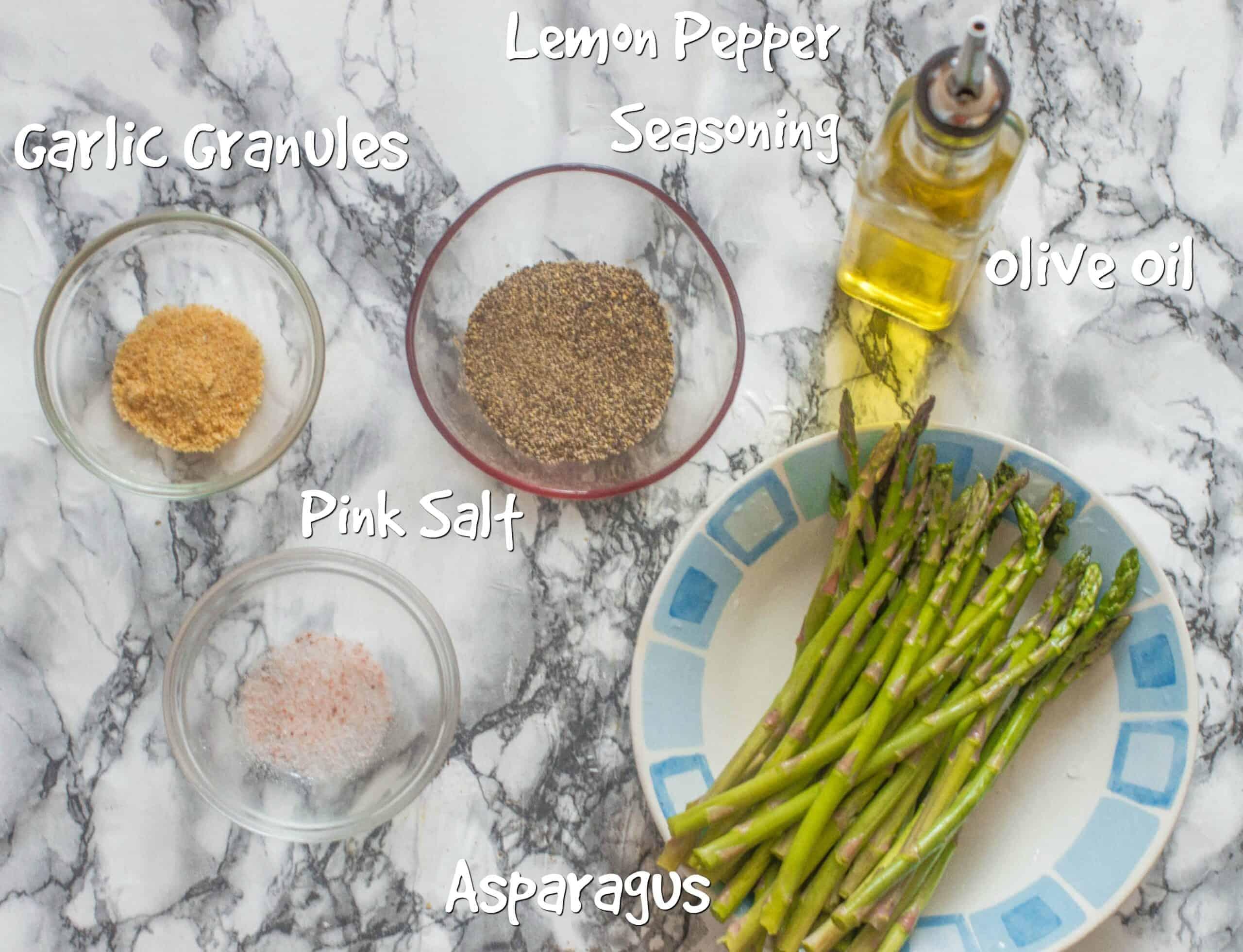 lemon pepper air fried asparagus ingredients