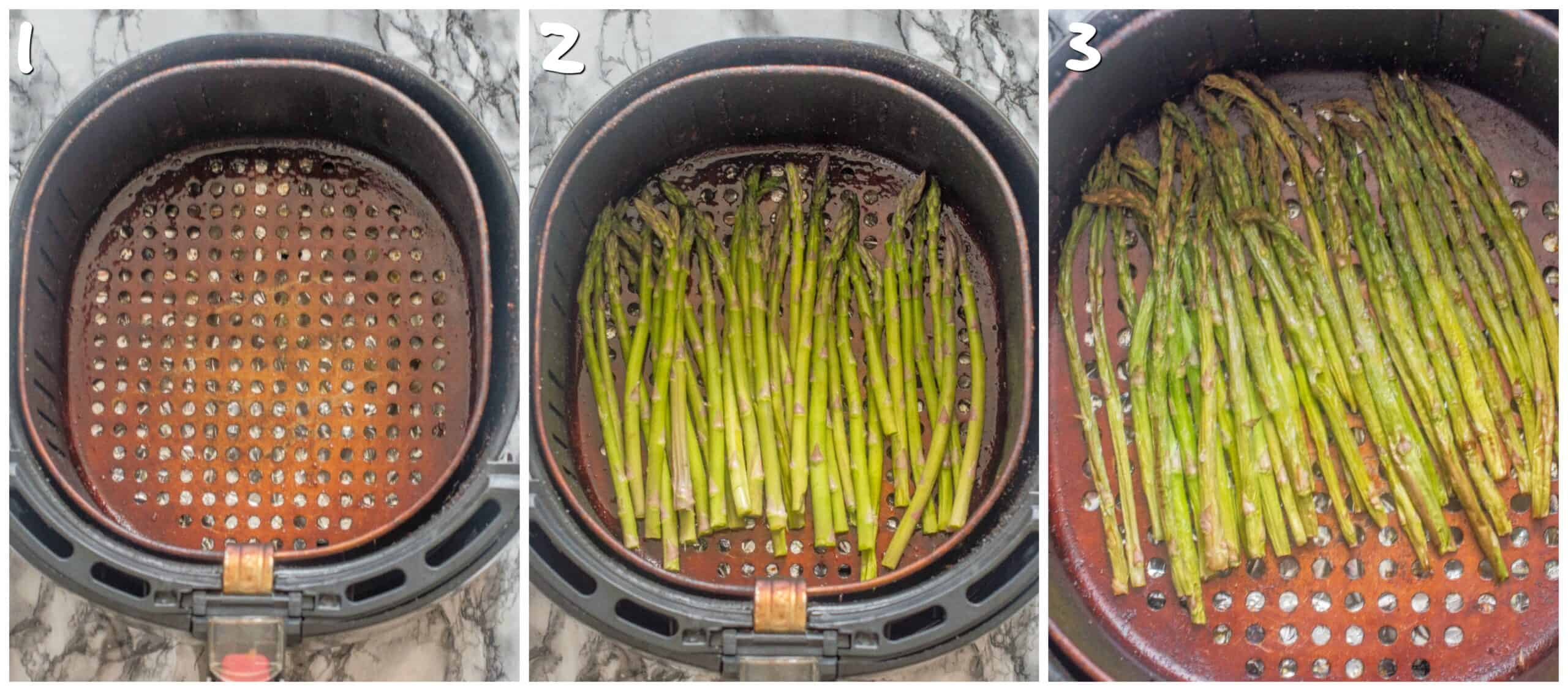 steps 1-3 frying the asparagus spears