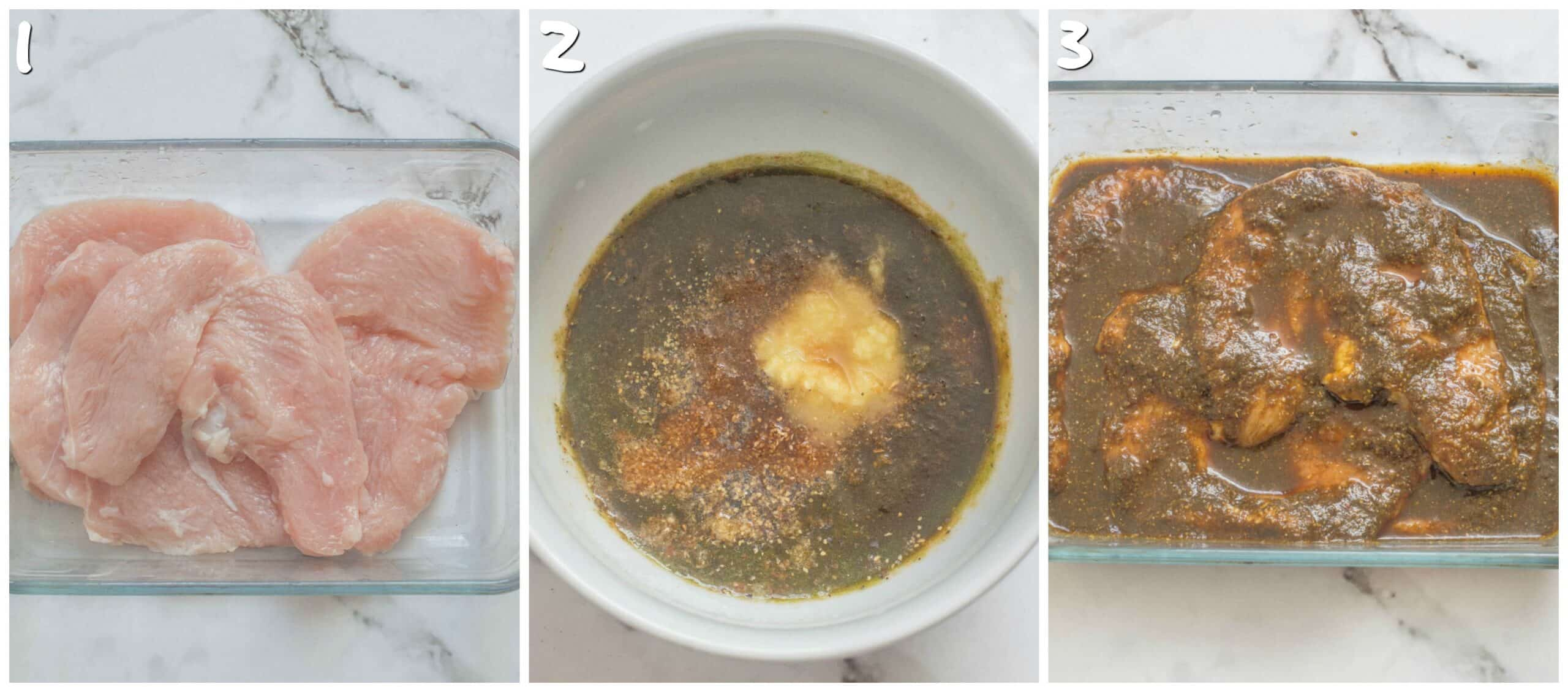 steps 1-3 marinating the turkey steaks