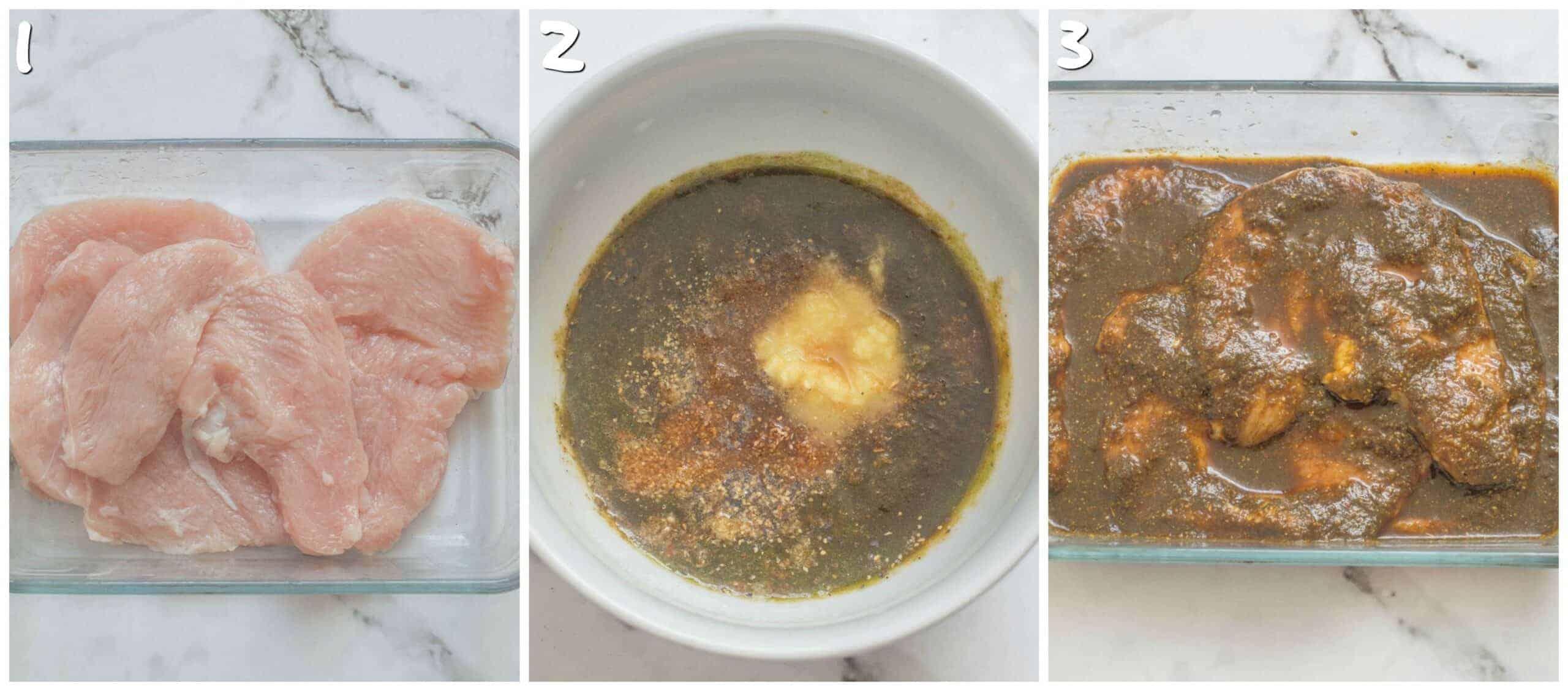 steps 1-3 marinating the turkey steaks