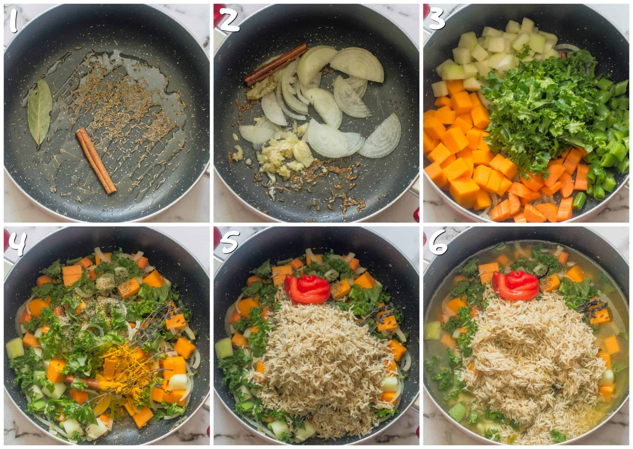 steps 1-6 cooking vegetables, adding rice and broth to the pot