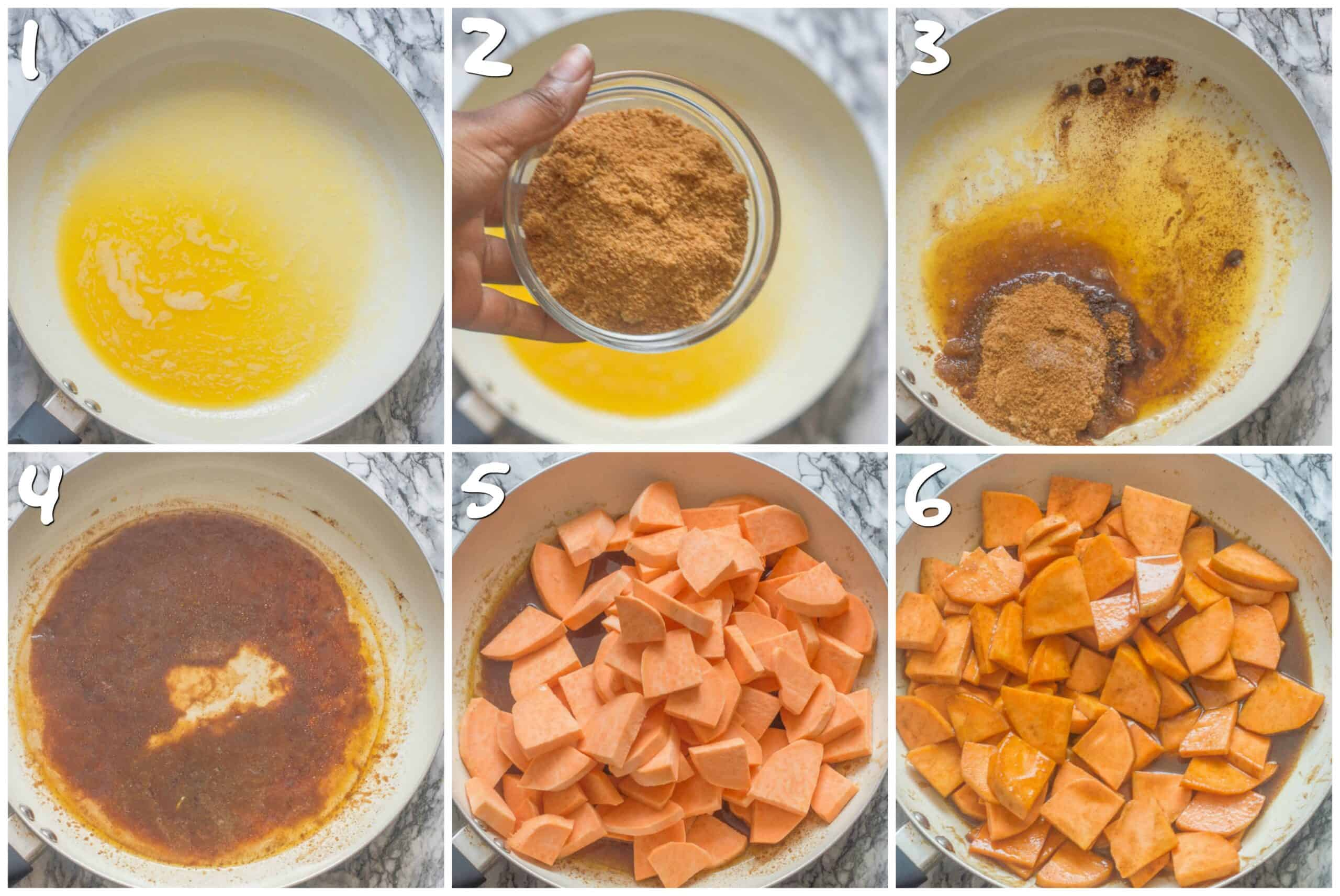 steps 1-6 stewing the sweet potatoes
