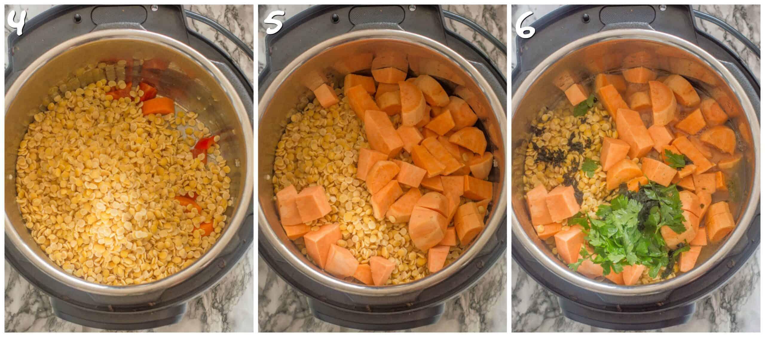 steps 4-6 adding split peas, sweet potatoes and herbs