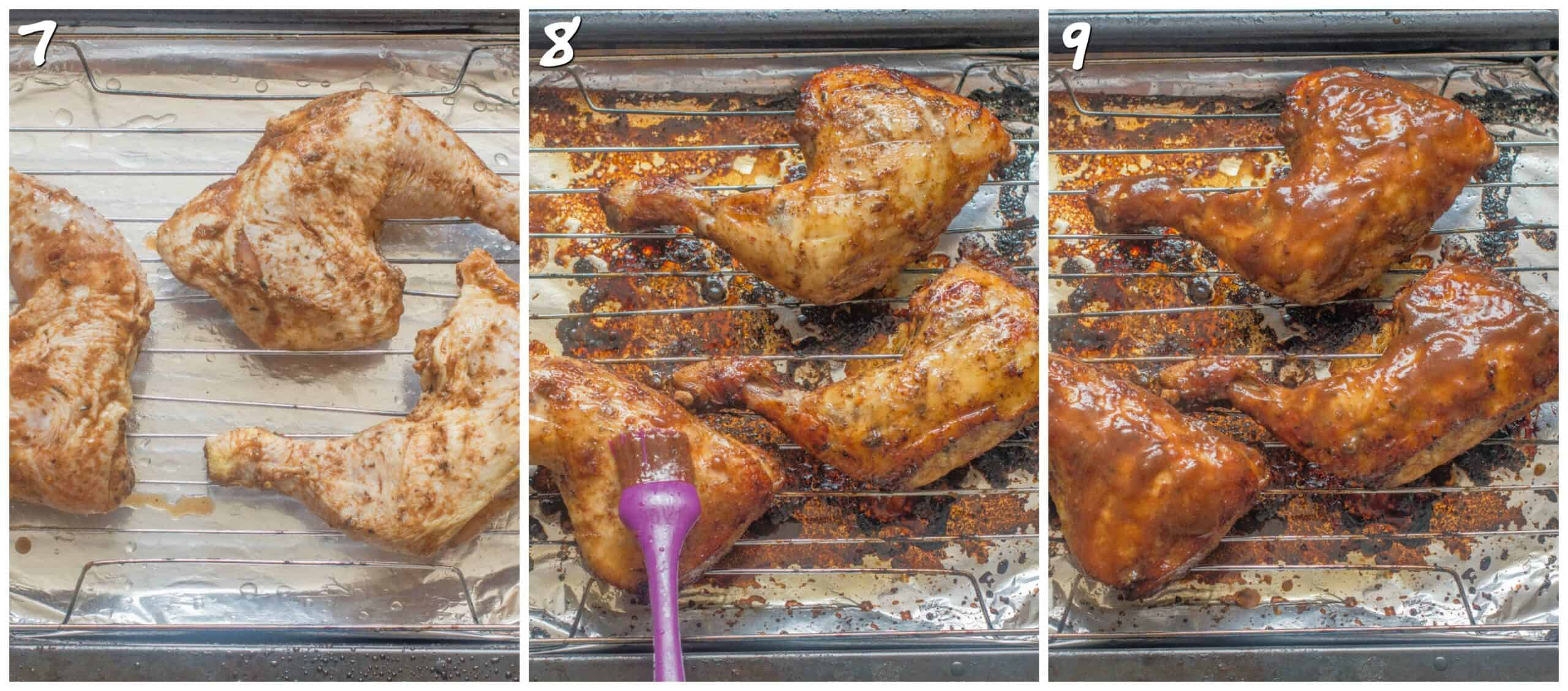 steps 7-9 coating the cooked chicken
