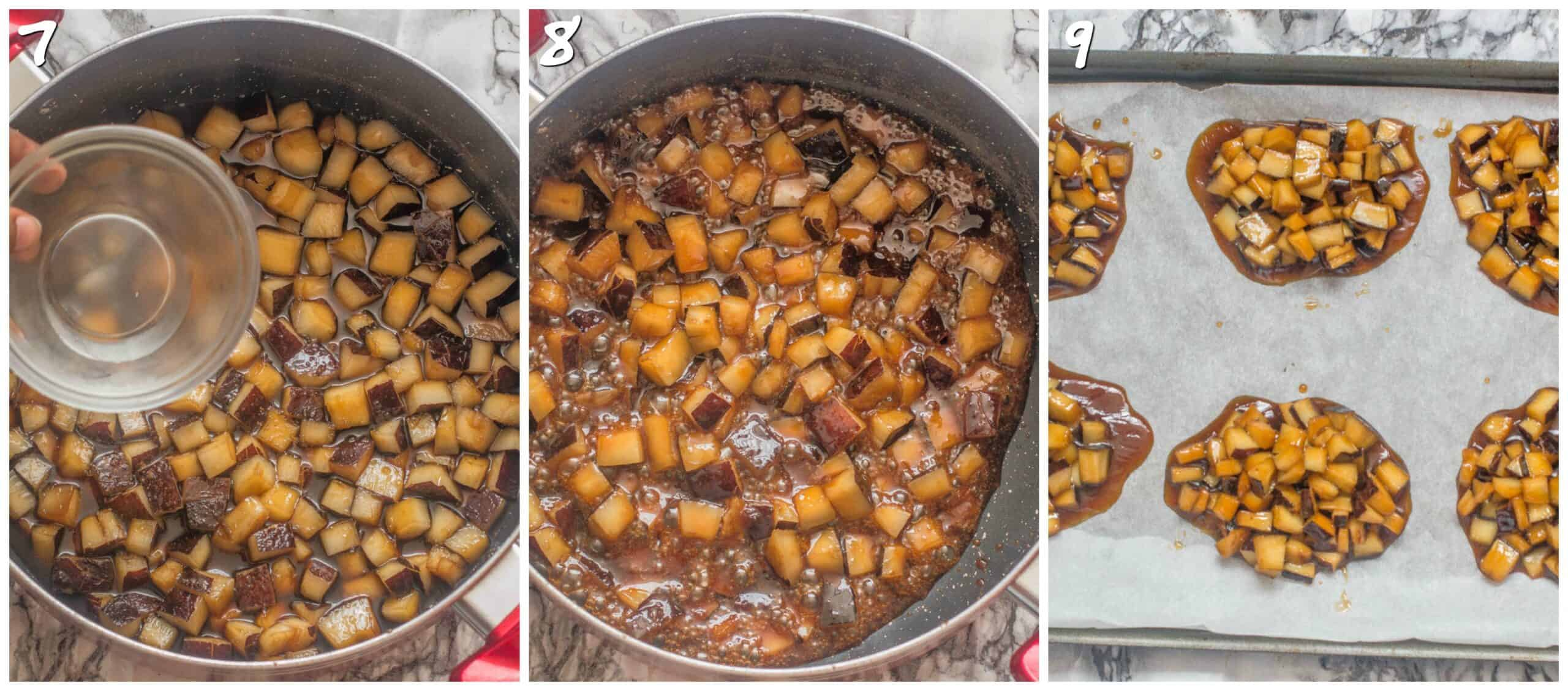 steps 7-9 simmering coconut into a syrup