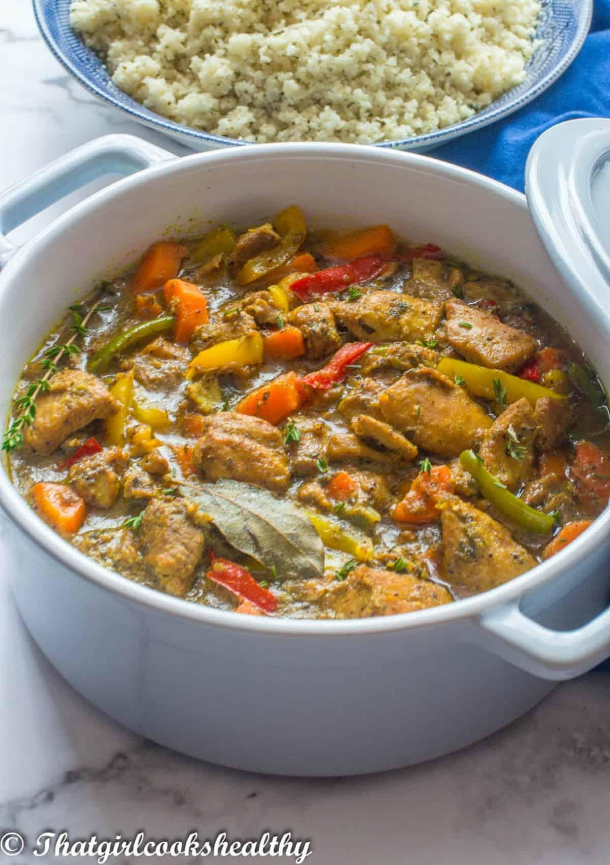 casserole dish with cauliflower rice